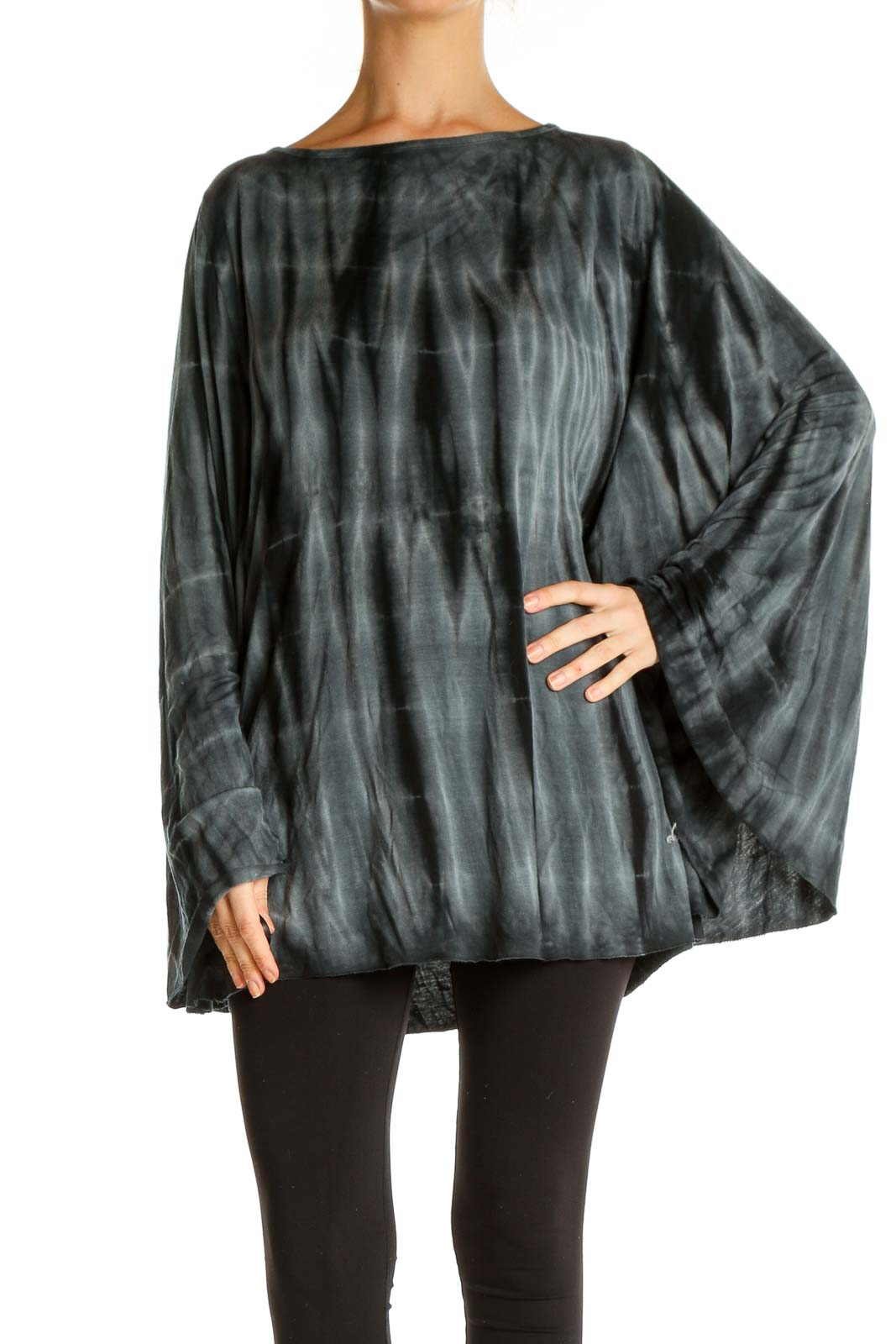 Black Tie And Dye Retro Blouse Front