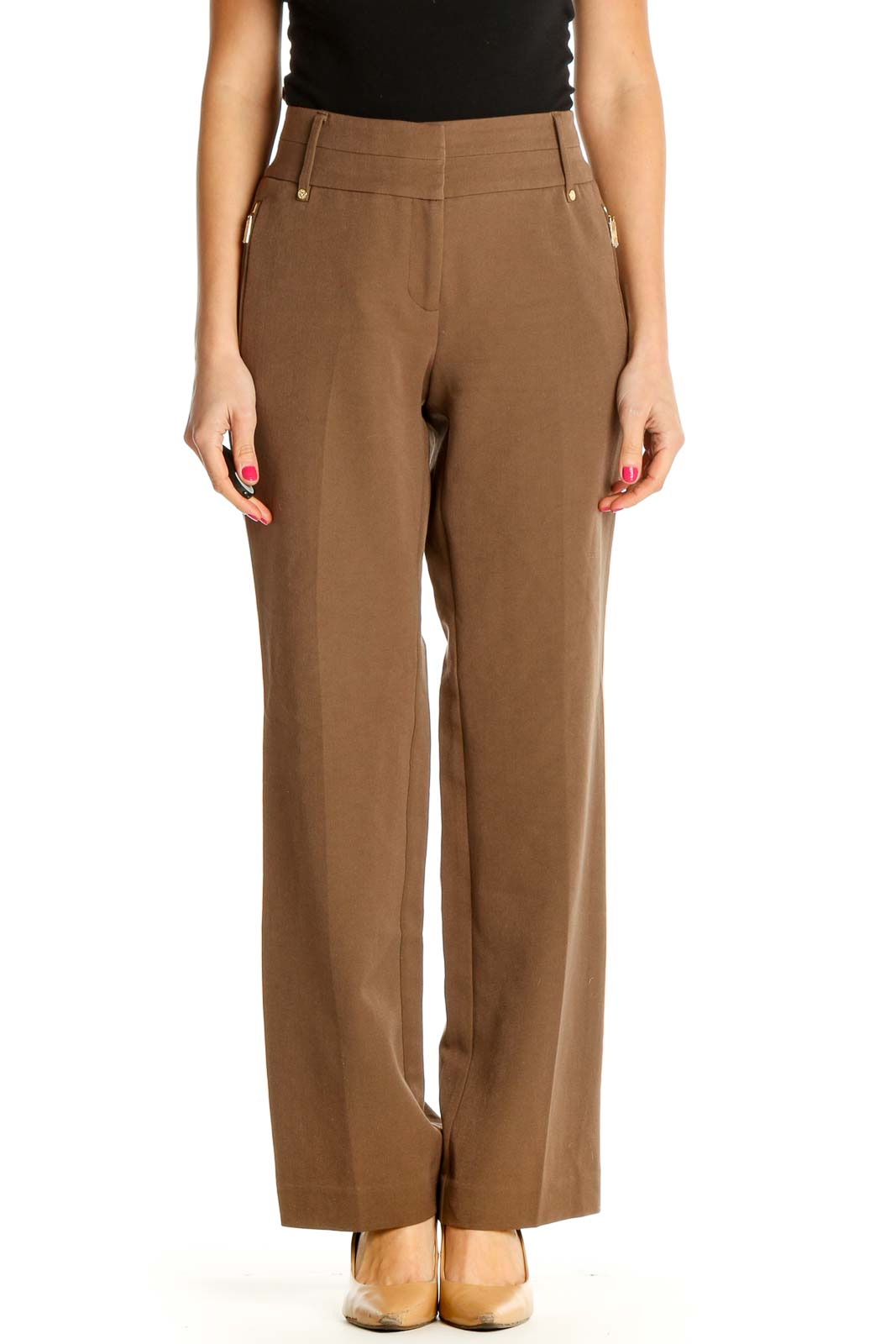 Brown Straight-Leg Trousers Front