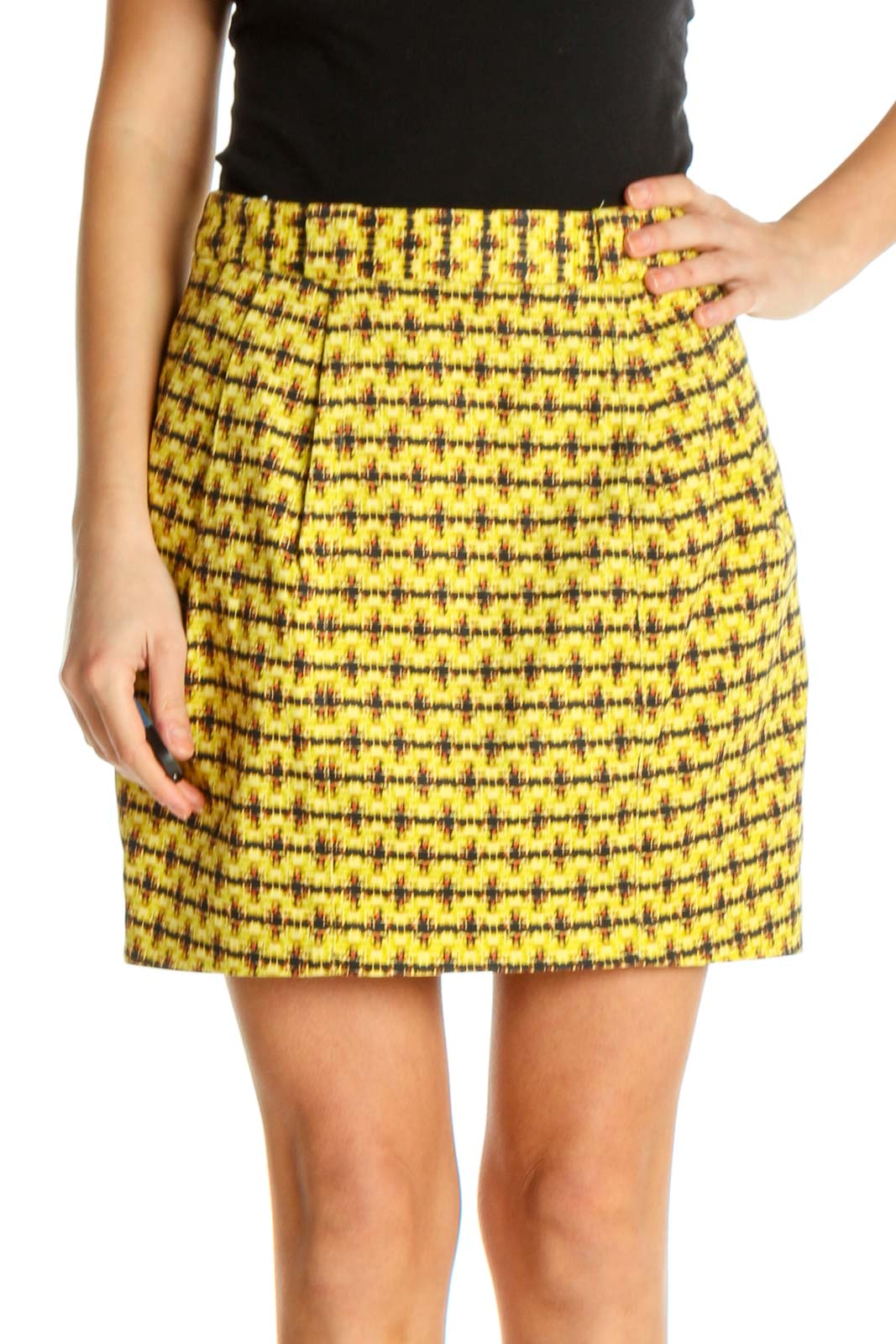 Yellow Printed Chic A-Line Skirt Front