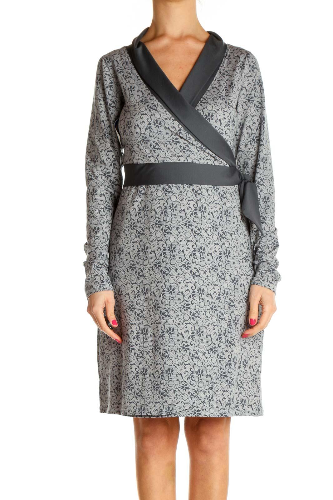 Gray Printed Classic Sheath Dress Front