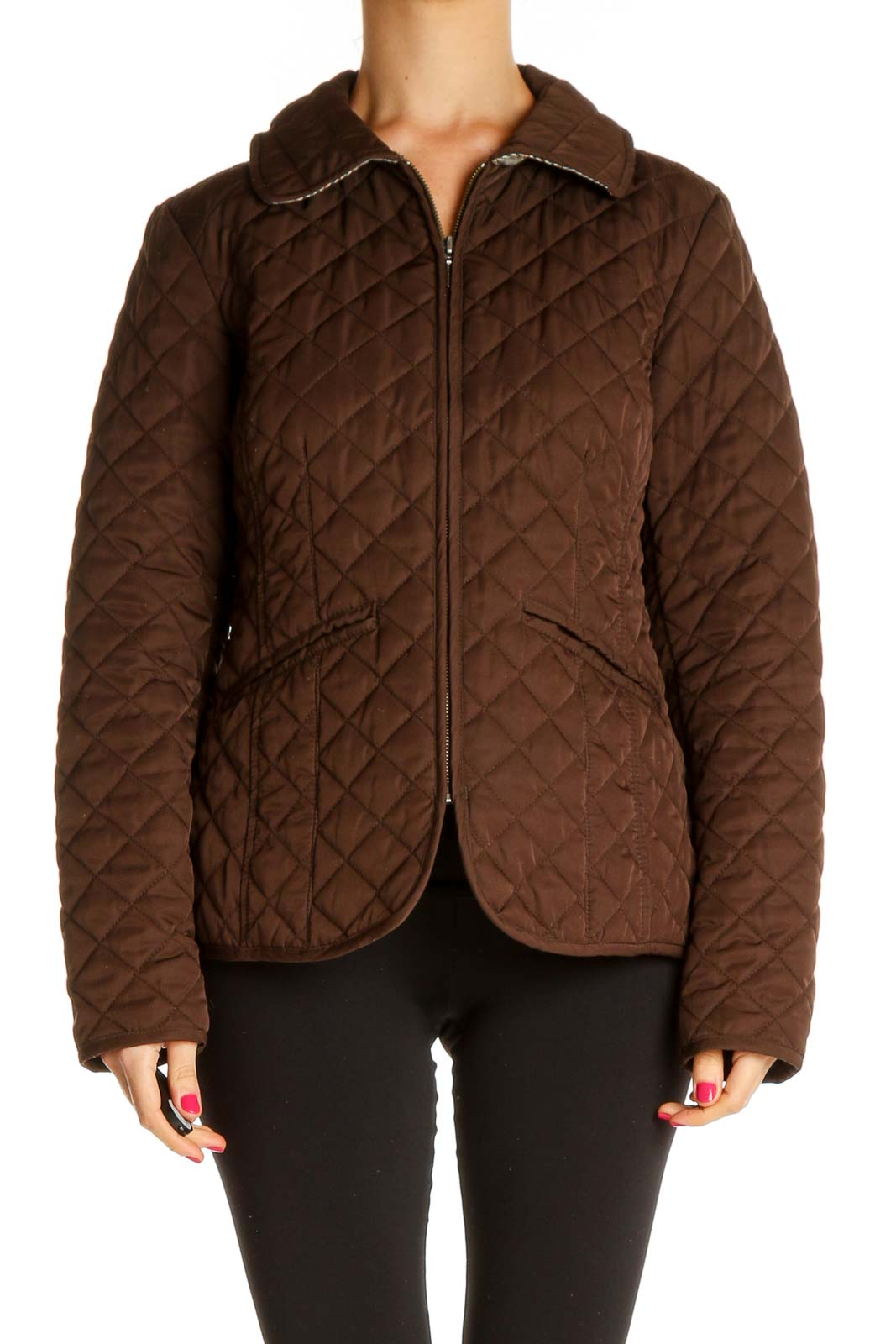 Brown Quilted Jacket Front