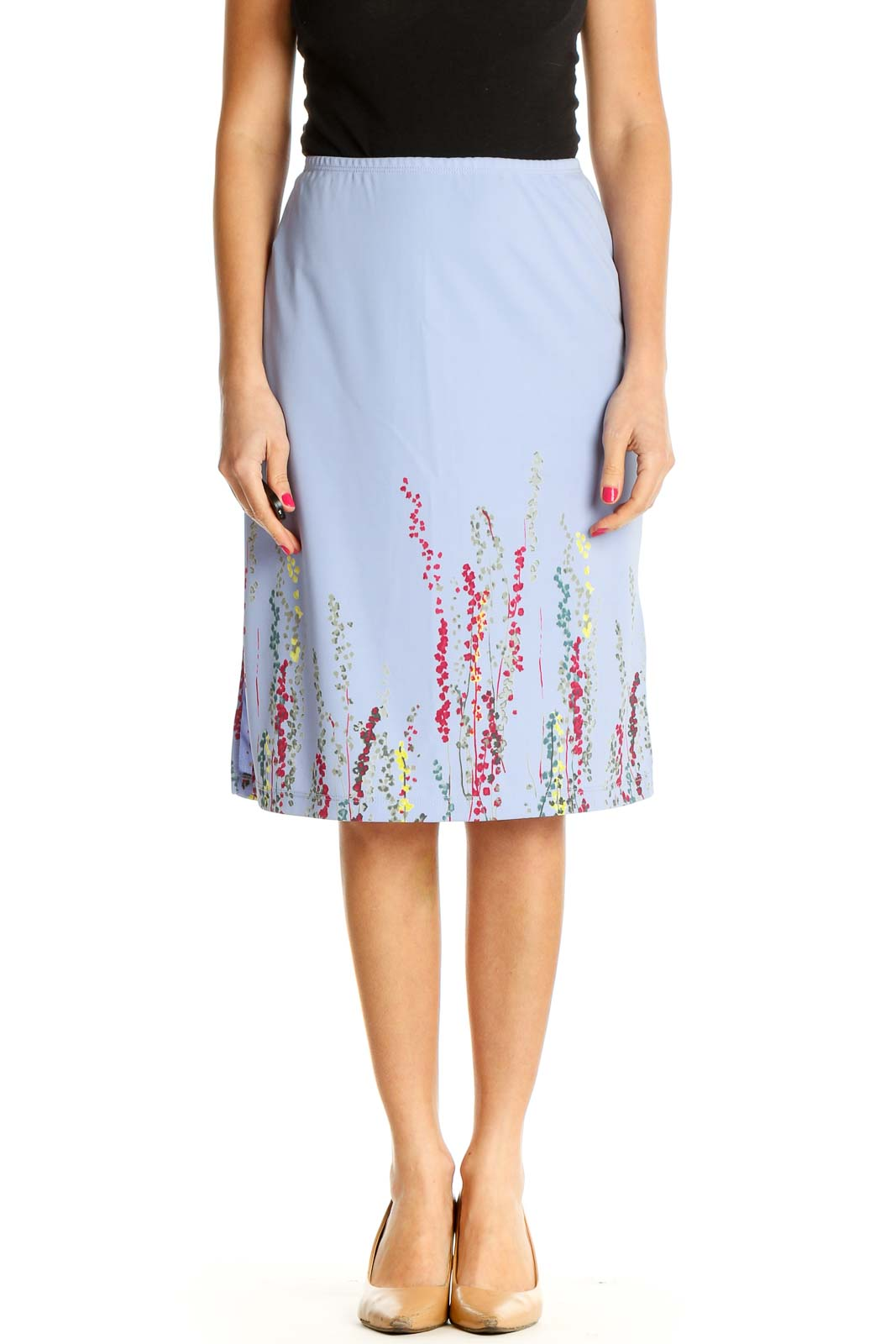 Blue Textured Chic A-Line Skirt Front