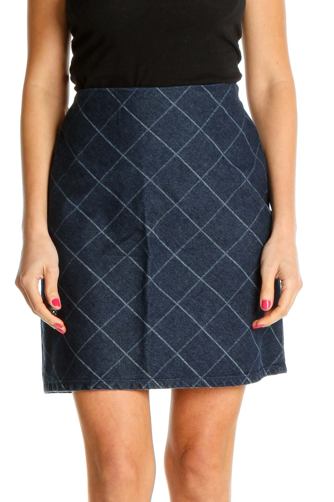 Blue Checkered Party A-Line Skirt Front