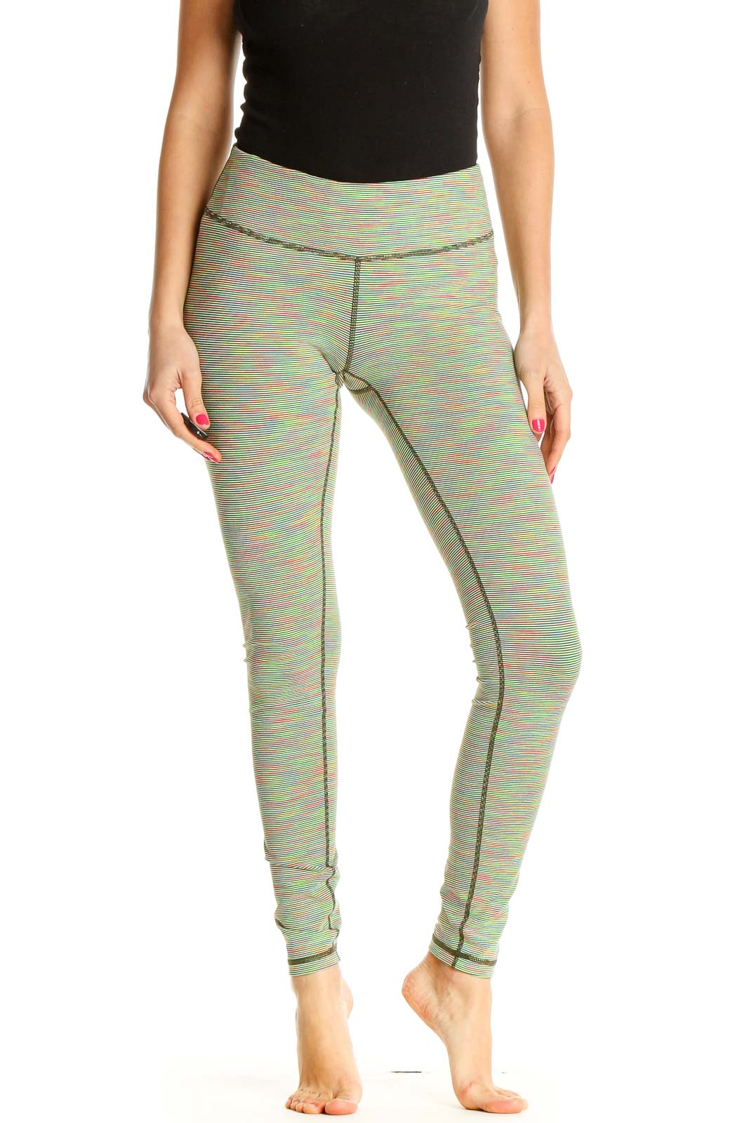 Green Solid All Day Wear Leggings Front