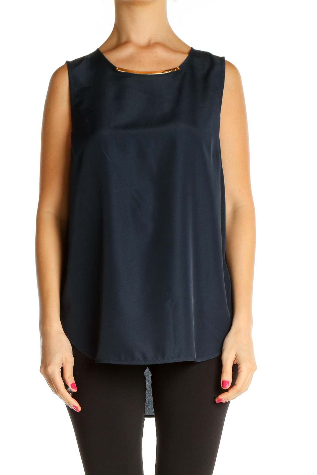 Blue Solid All Day Wear Tank Top Front
