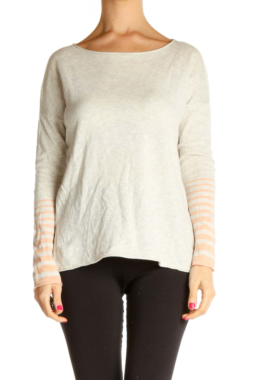 Beige Striped Sweater Front