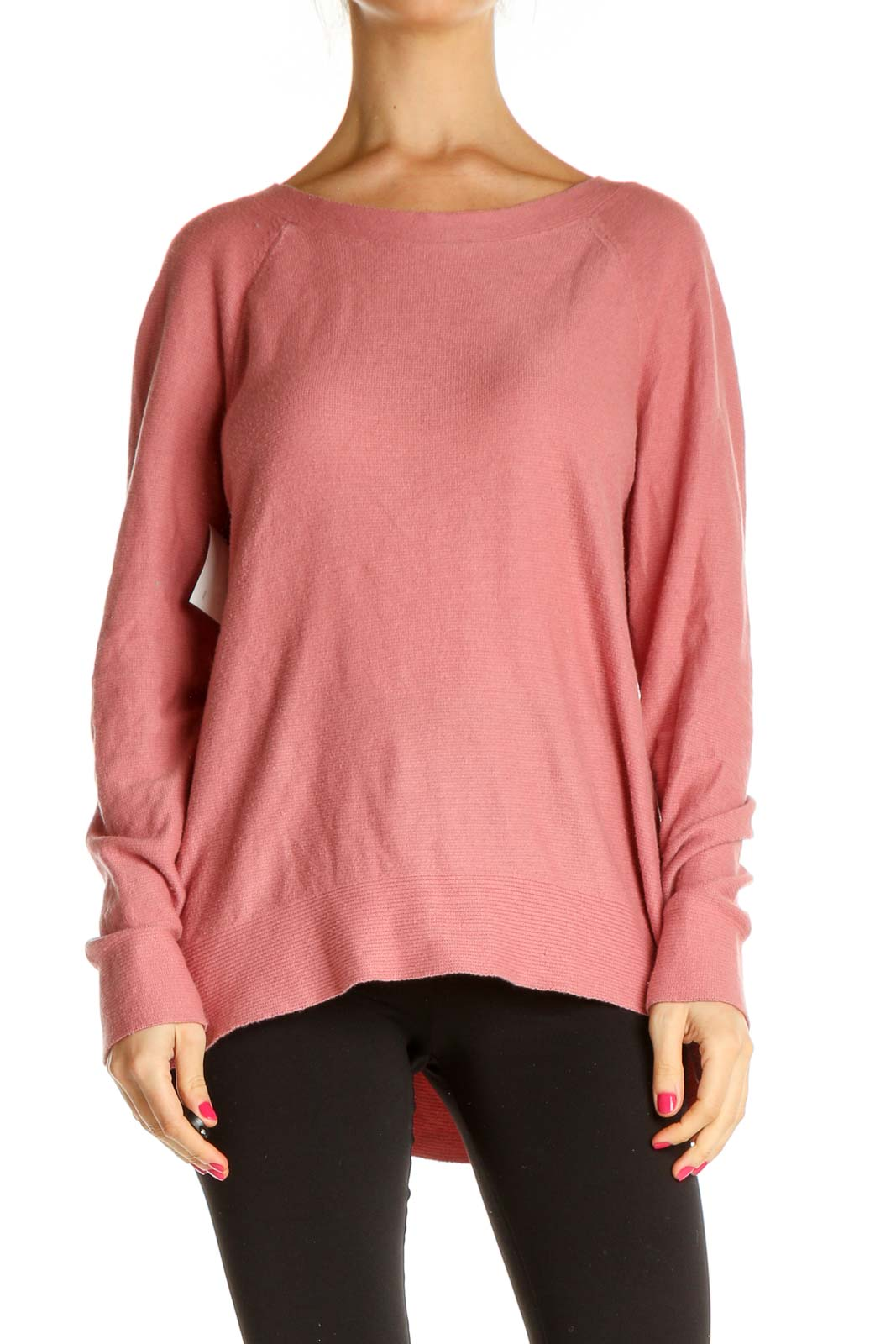 Pink Solid Classic Sweater Front