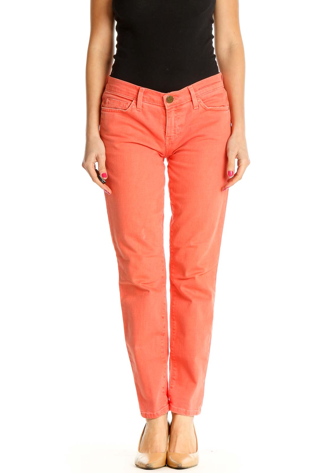 Orange Solid Casual Trousers Front