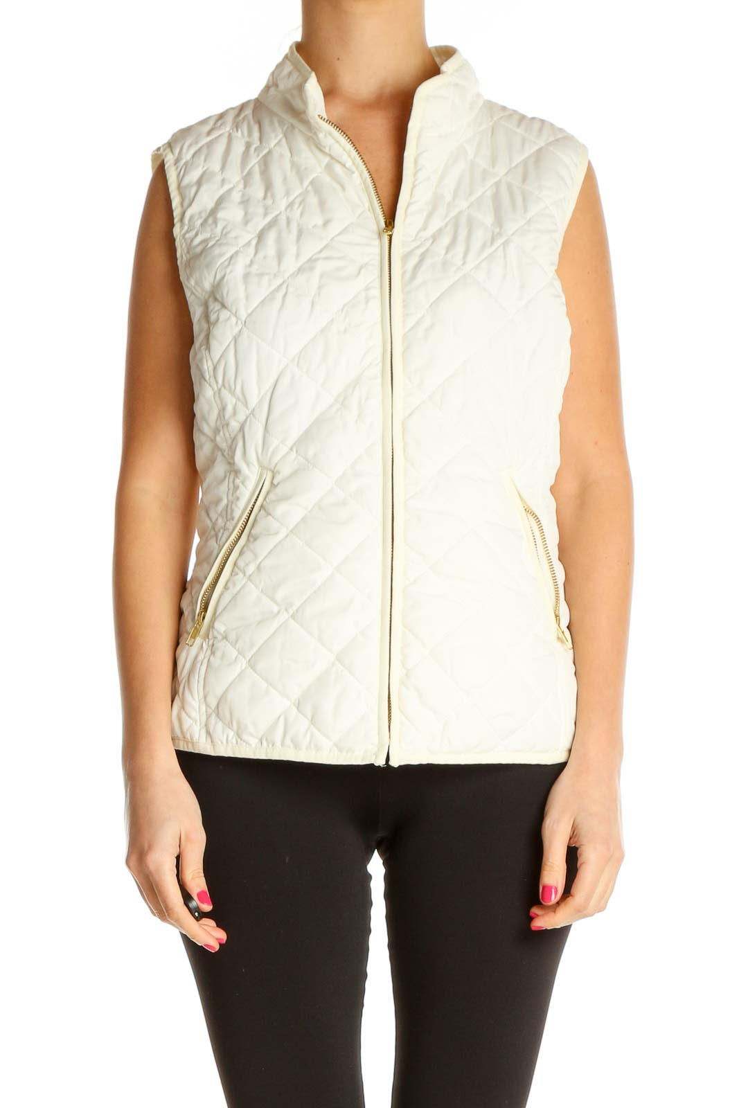 White Quilted Jacket Front