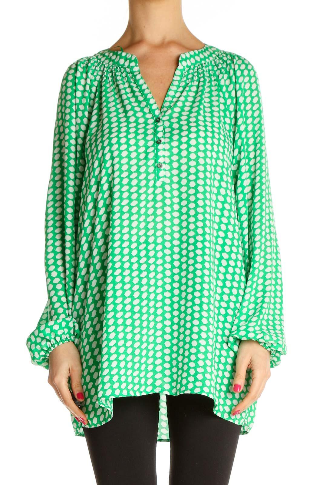 Green Polka Dot Retro Blouse Front