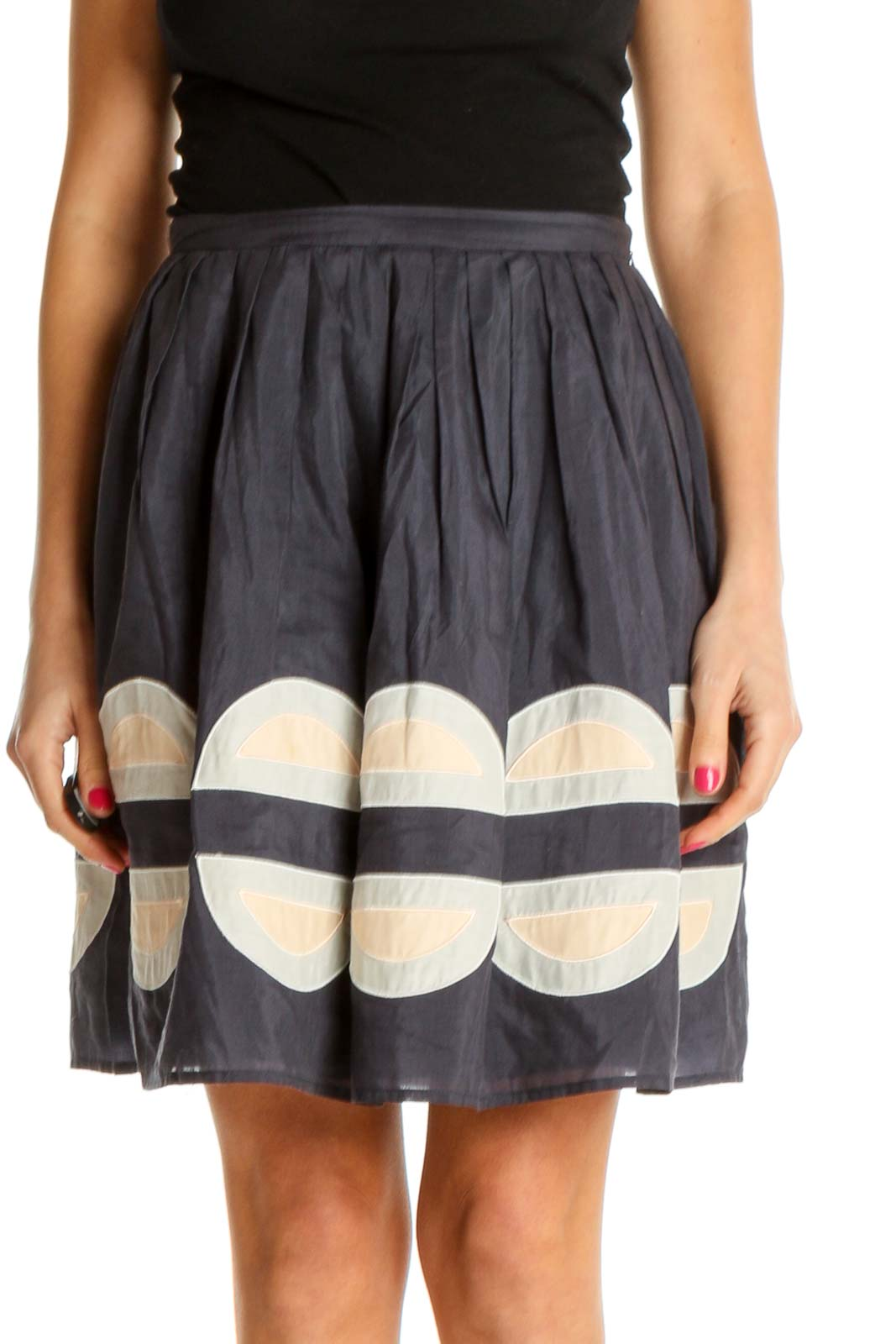 Black Textured Chic A-Line Skirt Front