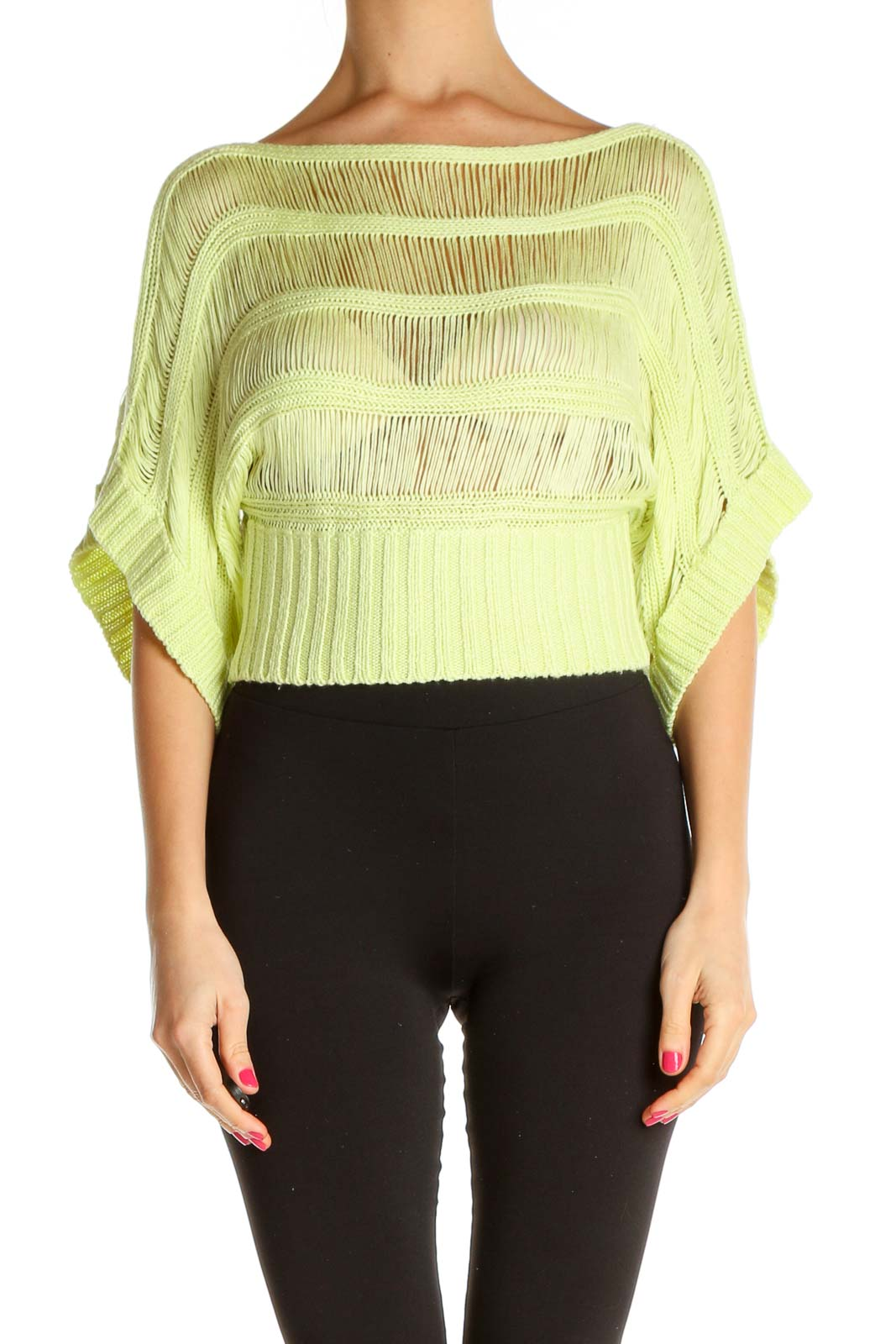 Yellow Textured Casual Sweater Front
