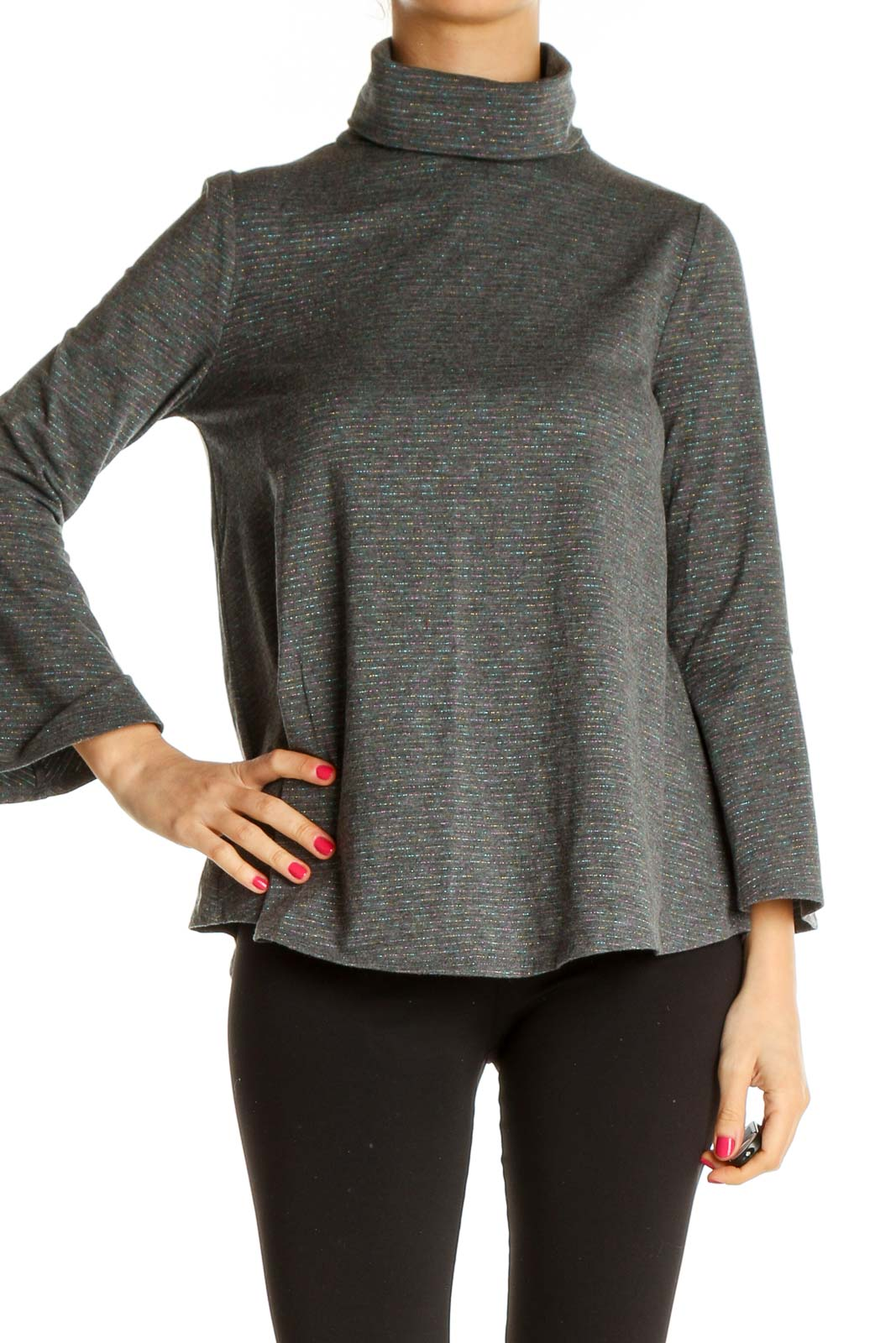 Gray Textured All Day Wear Sweater Front