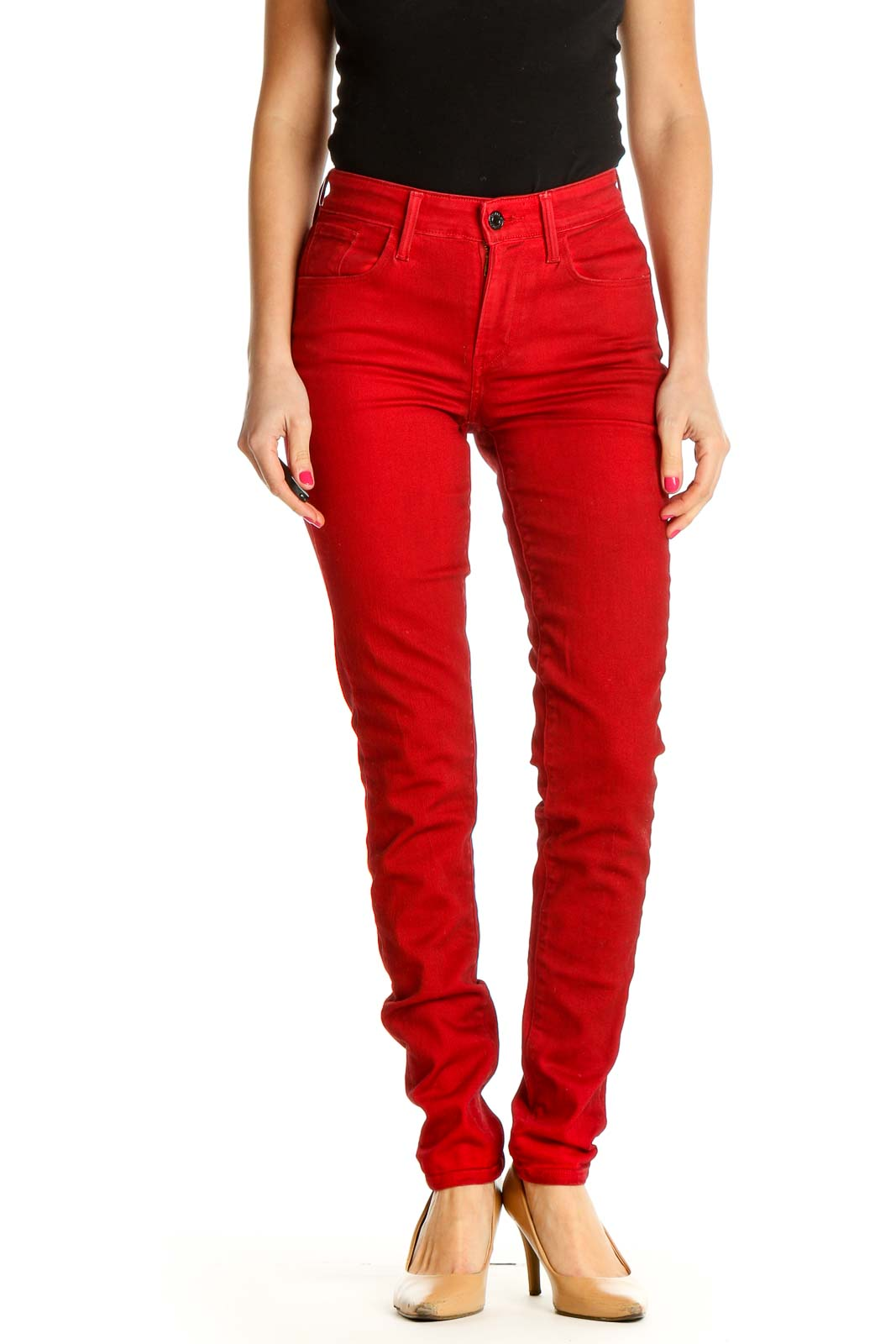 Red Solid All Day Wear Trousers Front