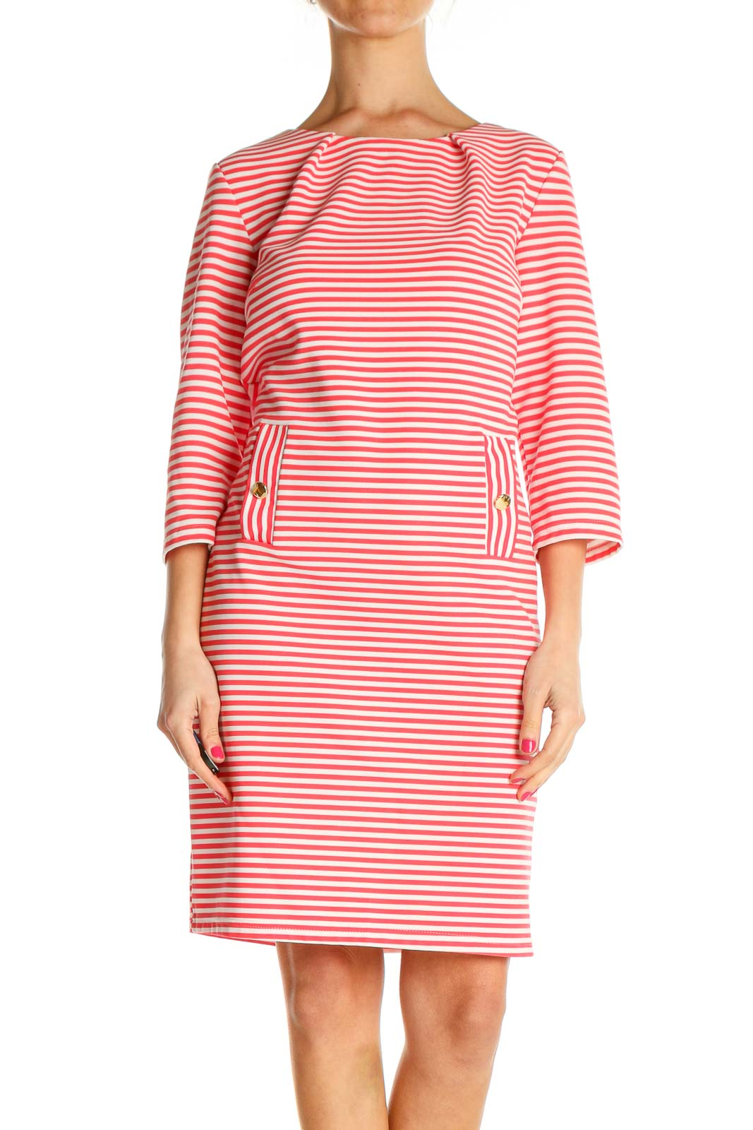 Pink Striped Day Sheath Dress Front