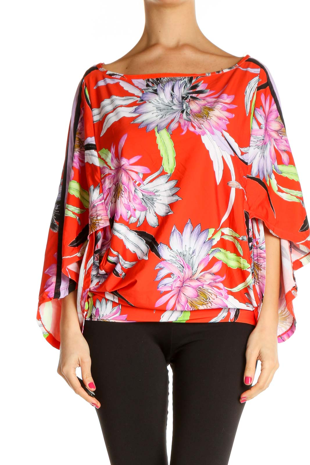 Red Tropical Print Bohemian Blouse Front