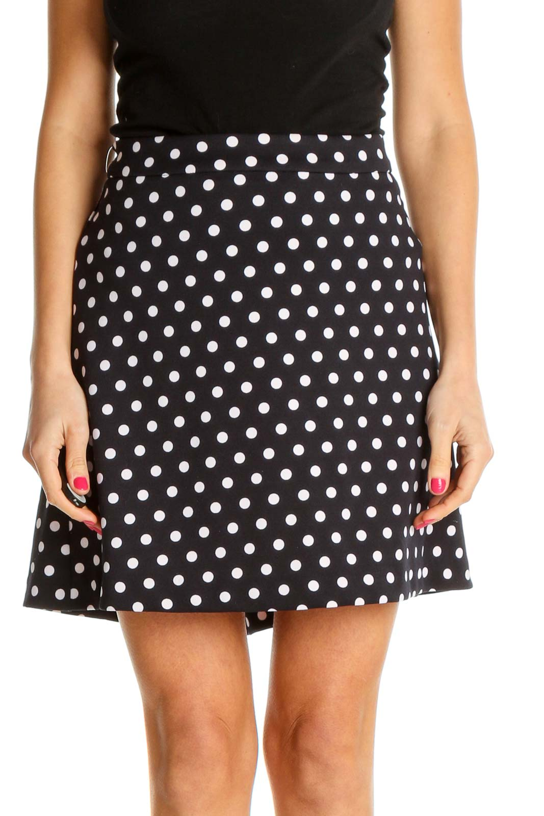 Blue Polka Dot Retro A-Line Skirt Front