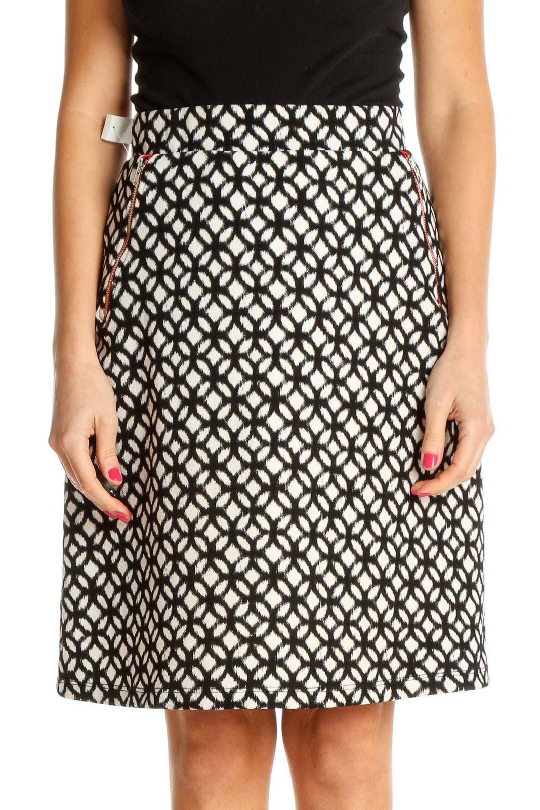 White Printed Bohemian A-Line Skirt Front