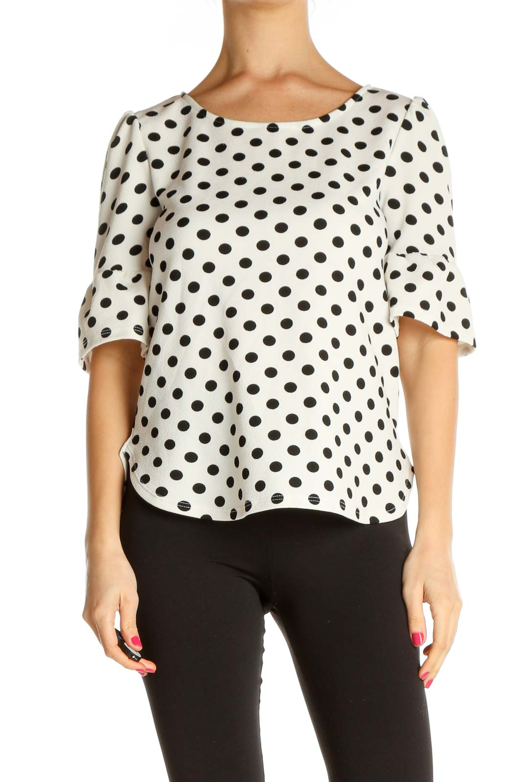 White Polka Dot All Day Wear T-Shirt Front