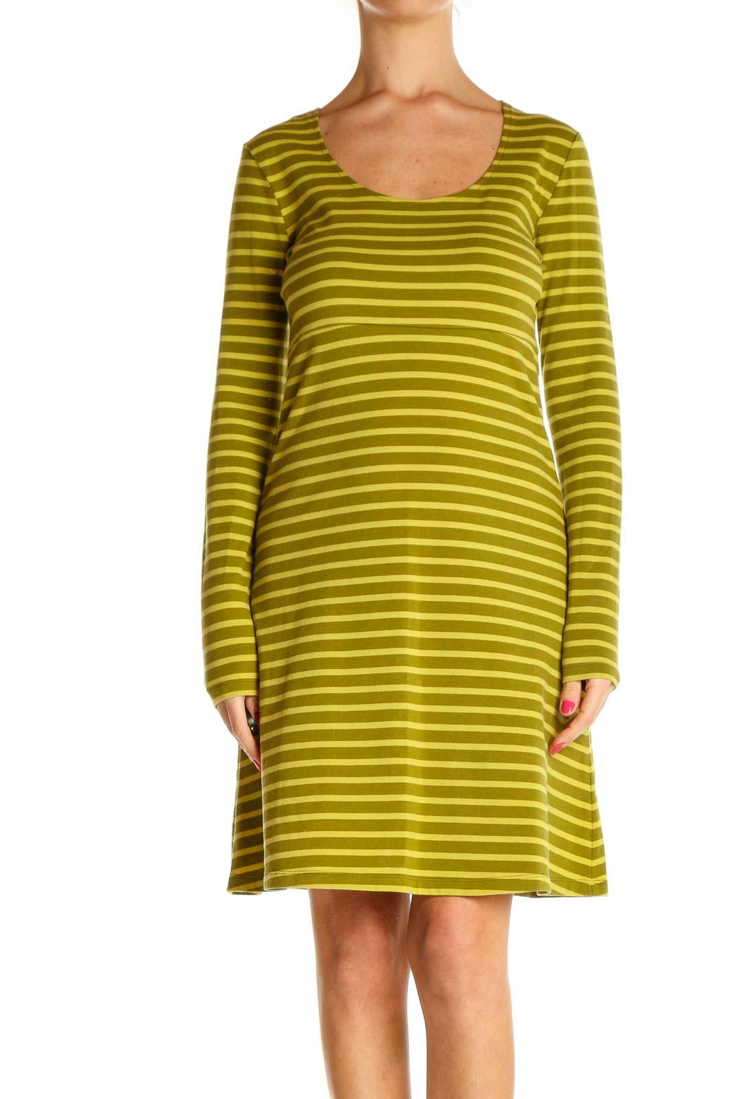 Green Striped Day Shift Dress Front