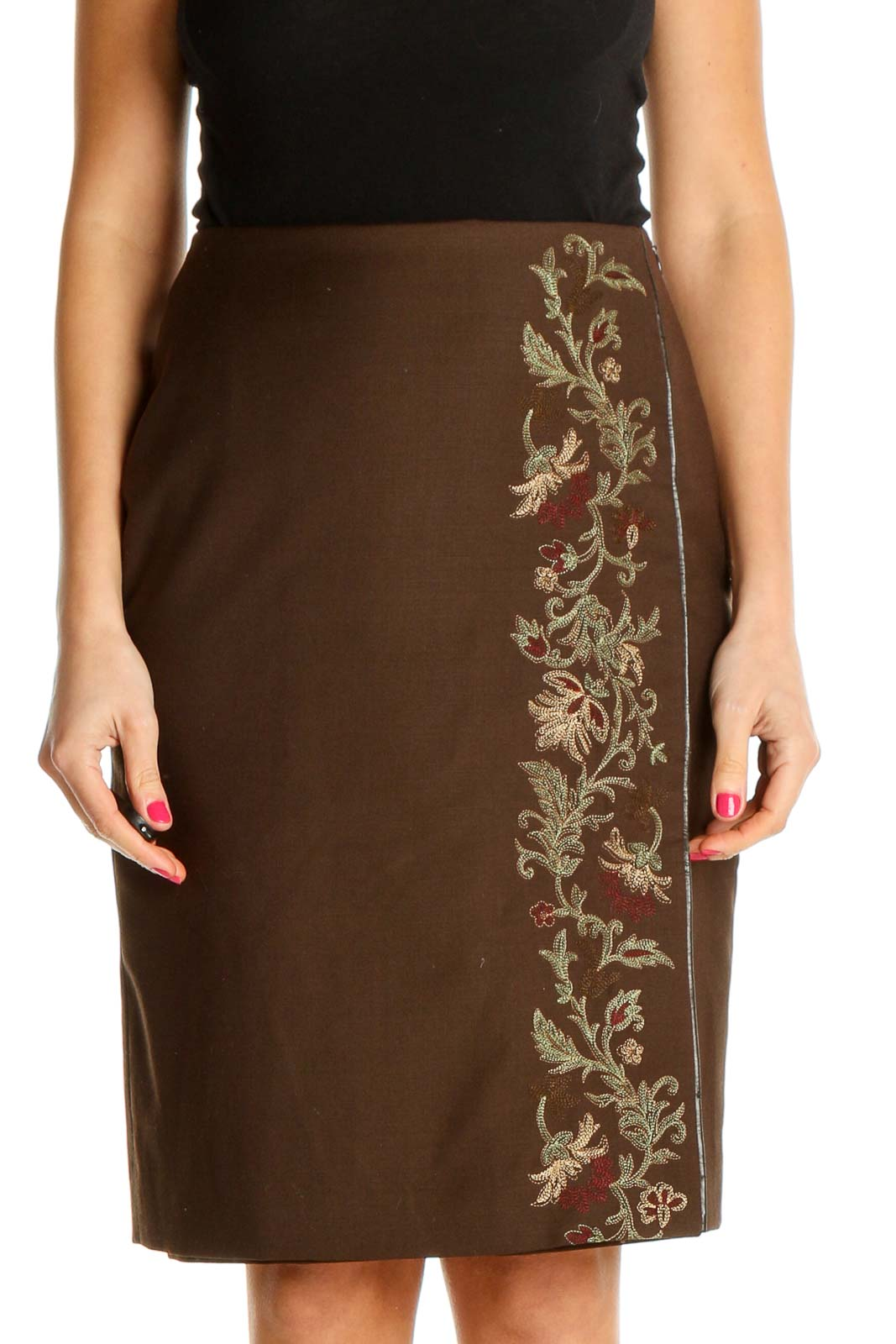 Brown Textured Party Pencil Skirt Front