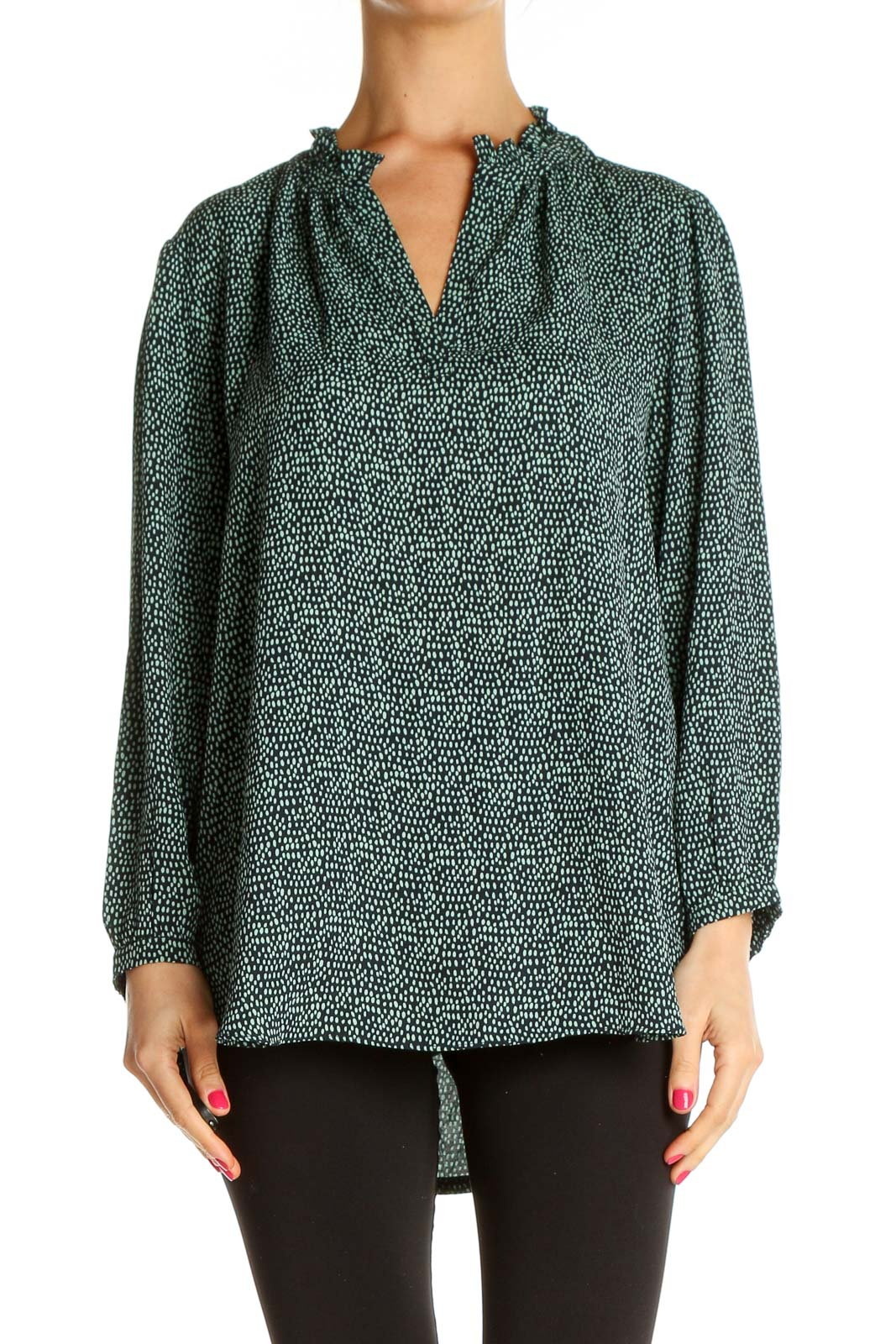 Green Textured All Day Wear Sweater Front