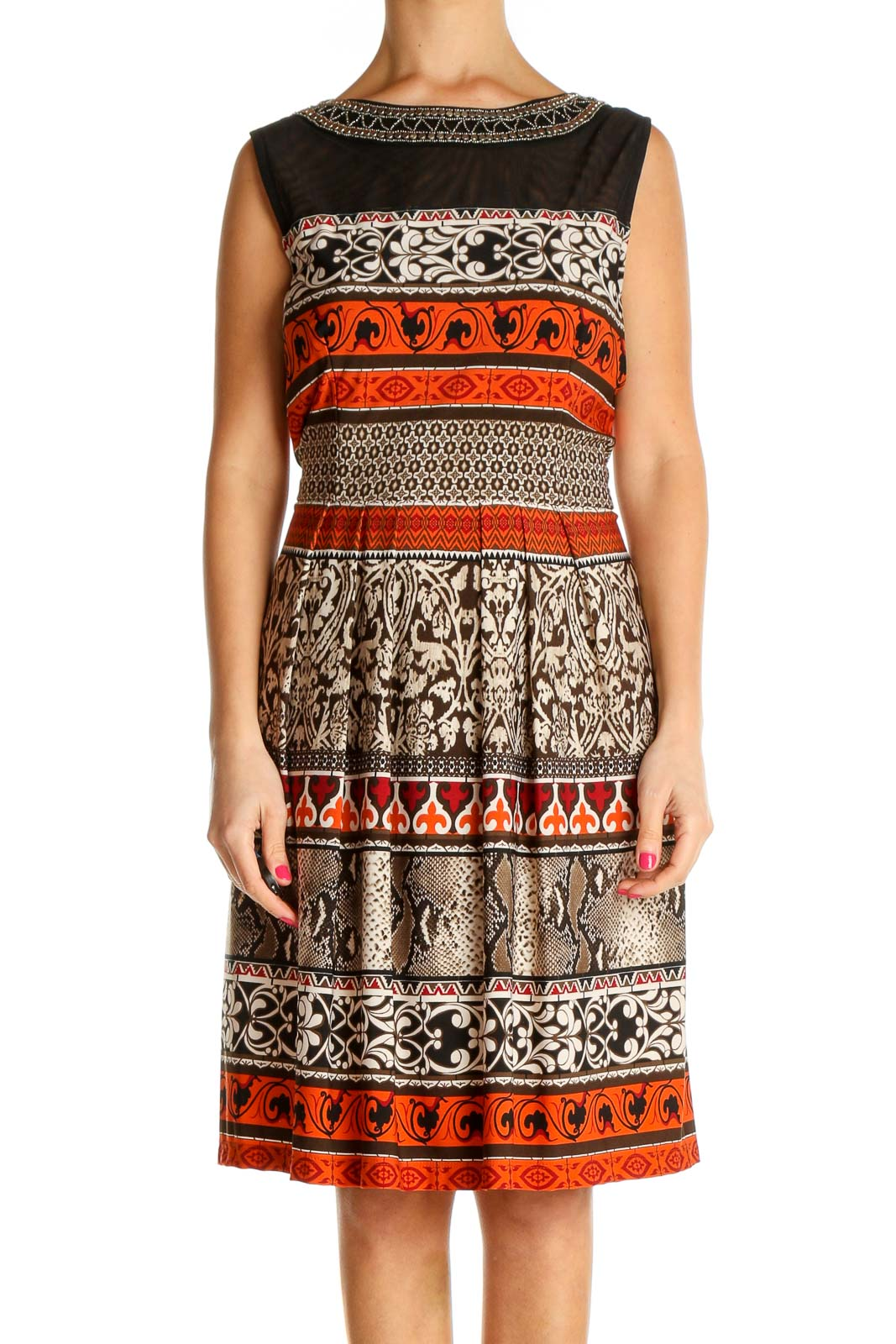 Brown Printed Day Fit & Flare Dress Front