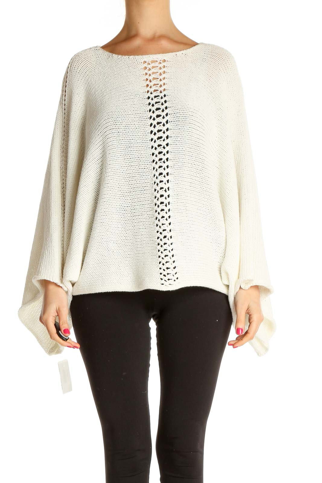White Solid All Day Wear Sweater Front