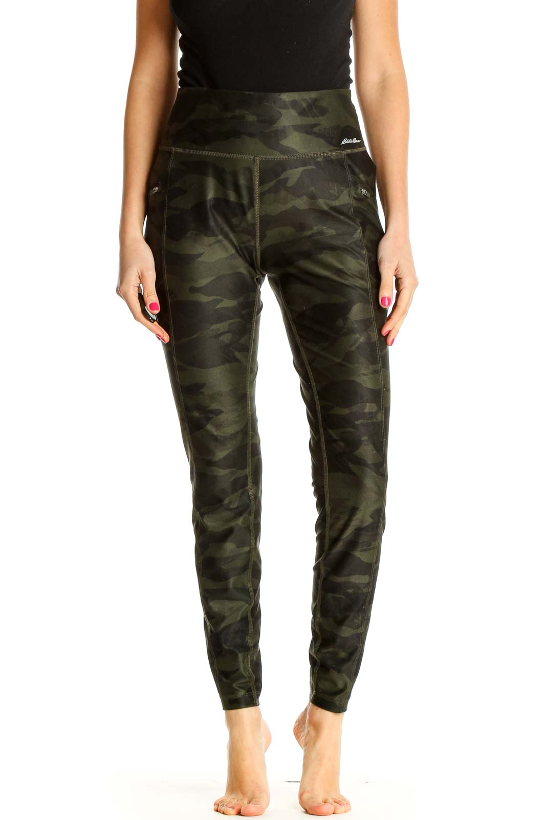 Black Camouflage Print Casual Leggings Front