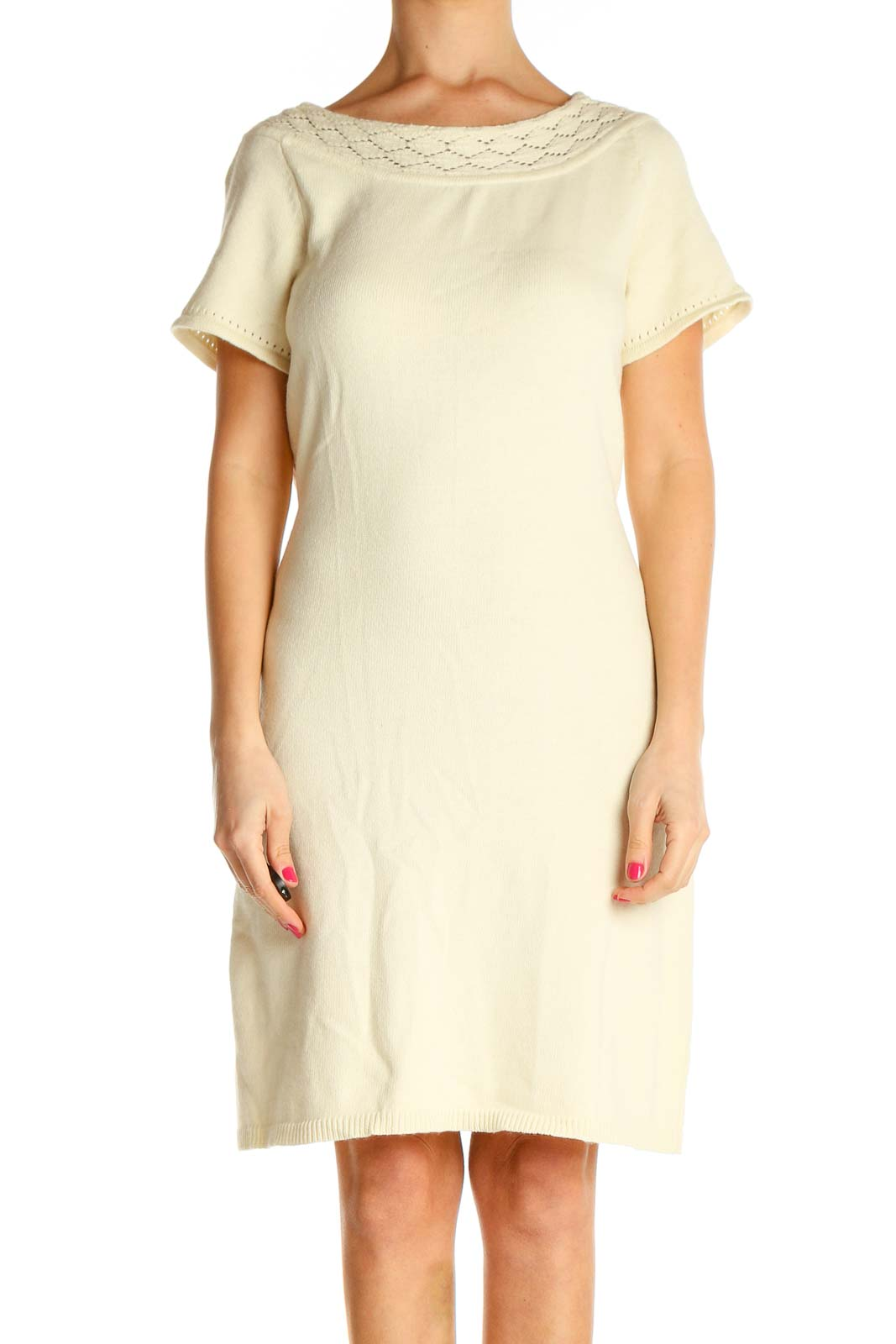 Beige Solid Day Shift Dress Front