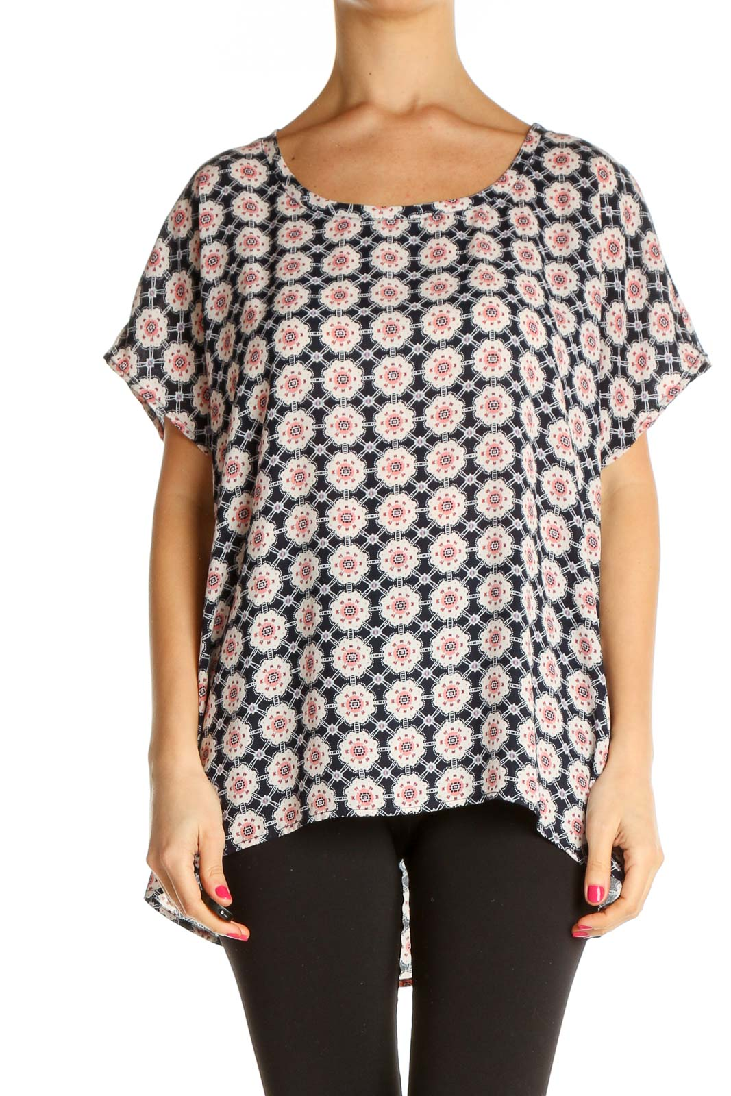 Blue Printed Casual Blouse Front