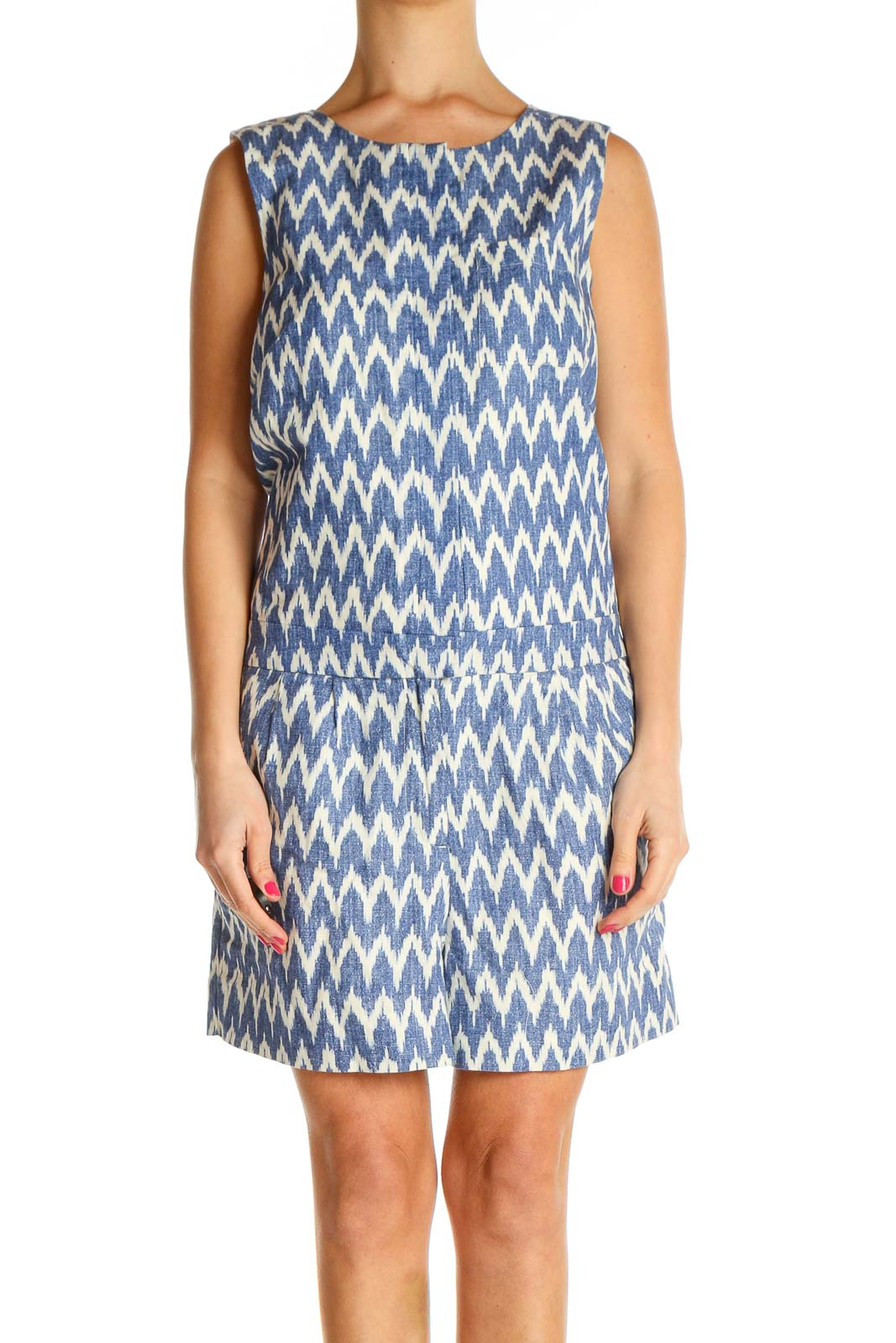 Blue Chevron Day A-Line Dress Front
