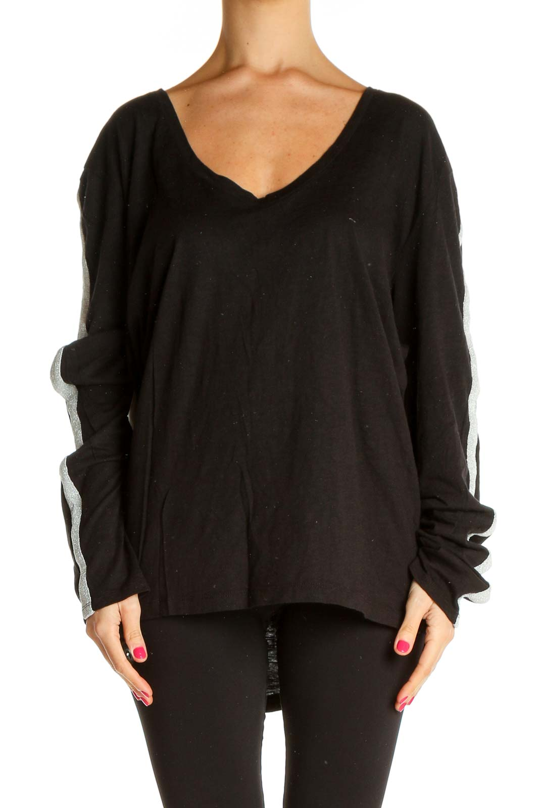 Black Solid All Day Wear Sweater Front