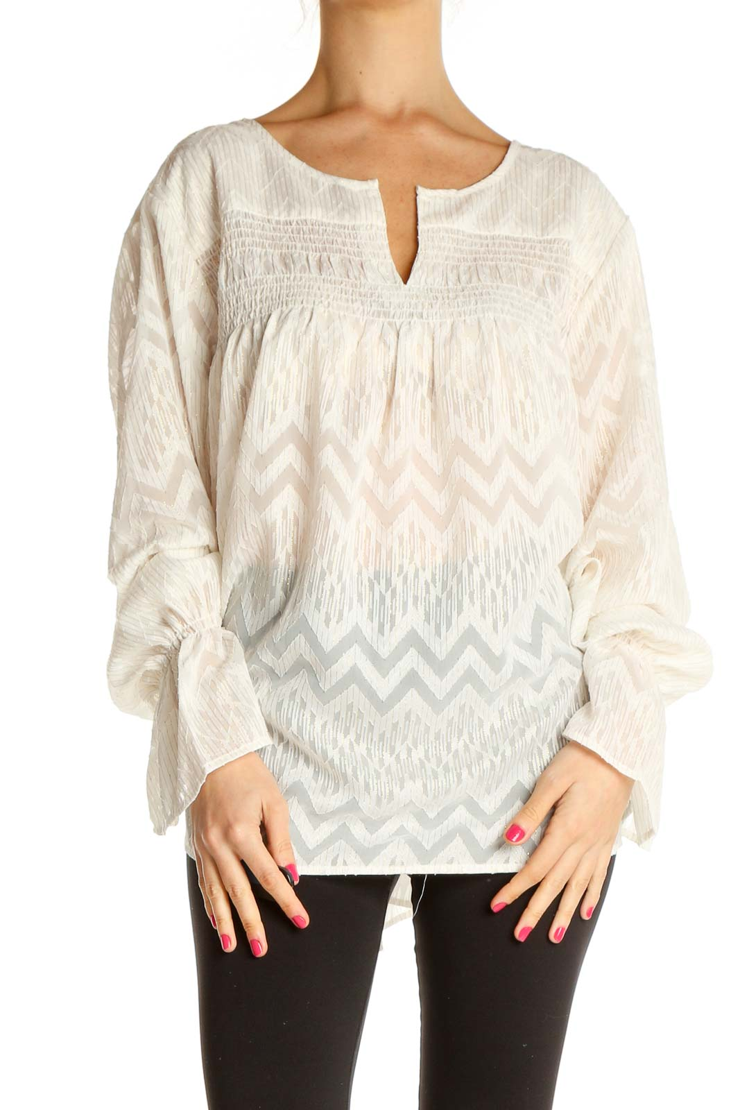 Beige Textured All Day Wear Blouse Front