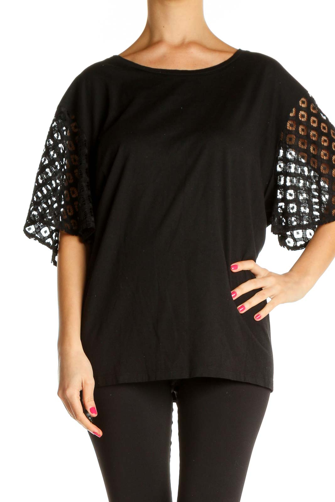 Black Solid All Day Wear Blouse Front
