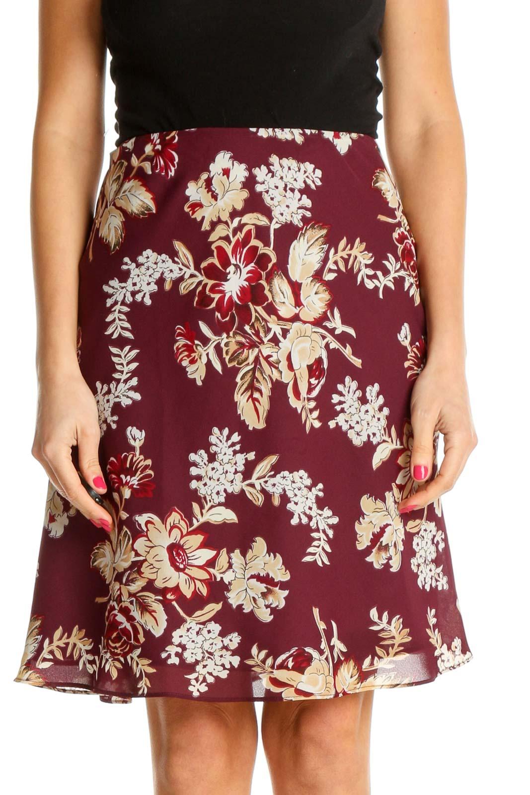 Red Floral Print Brunch A-Line Skirt Front