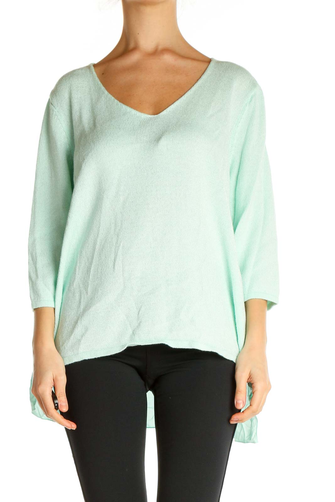 Green Solid All Day Wear Sweater Front