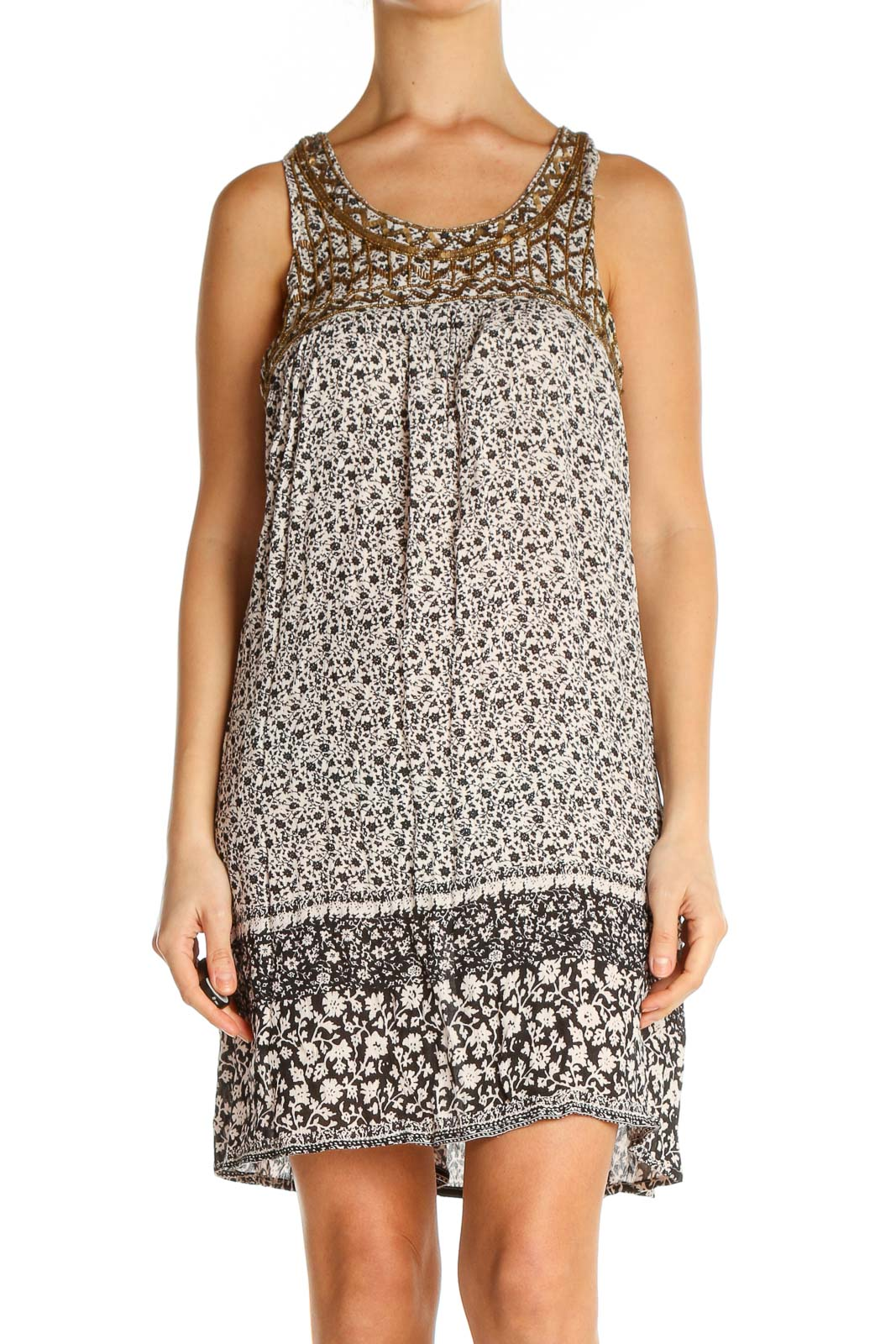 Beige Object Print Holiday A-Line Dress Front