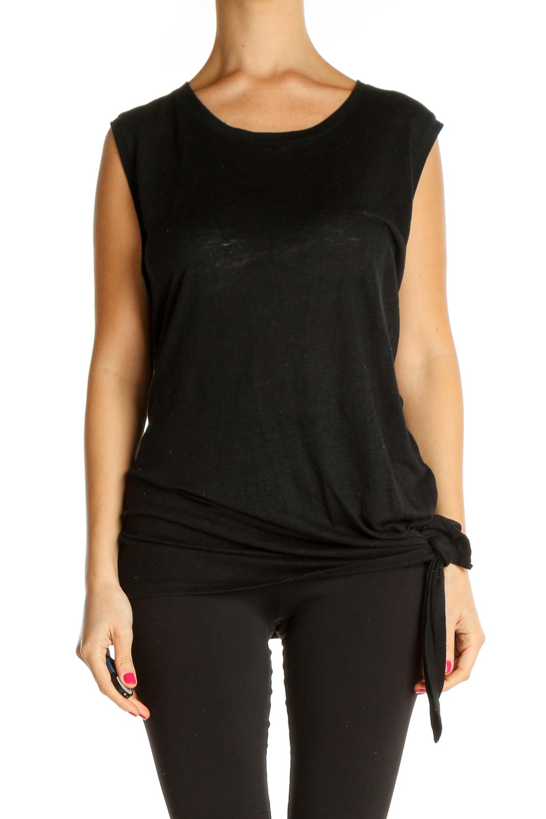 Black Solid Chic T-Shirt Front