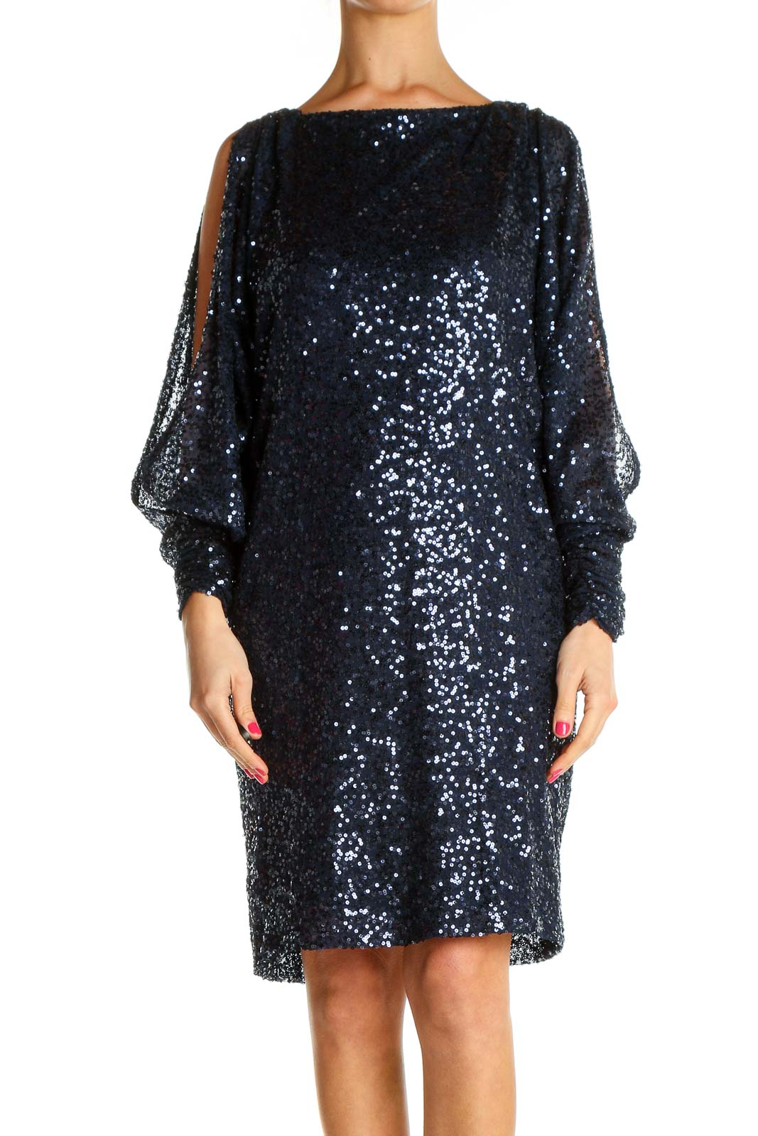 Blue Sequin Cocktail Shift Dress Front