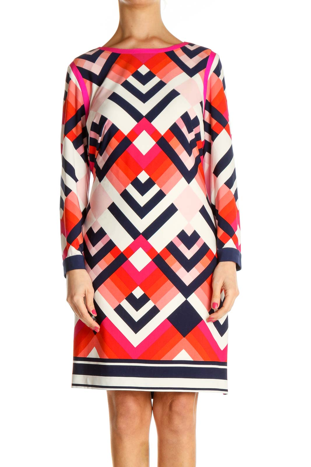 Red Geometric Print Day Shift Dress Front