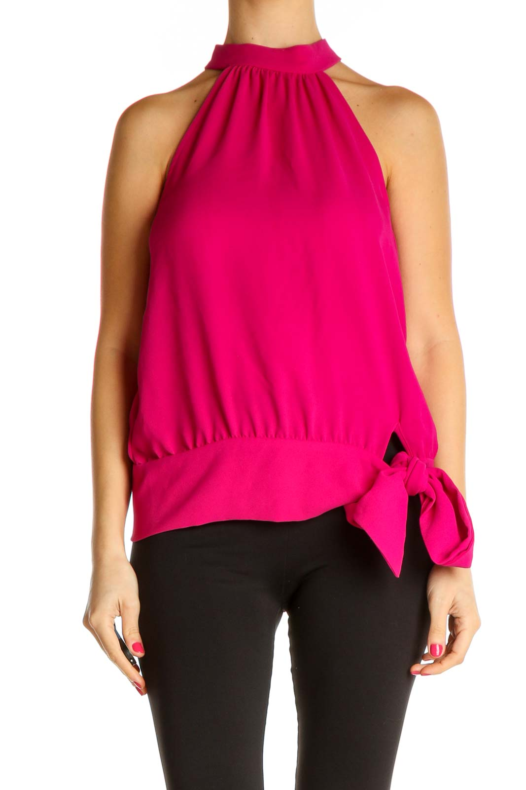 Pink Solid Chic Blouse Front
