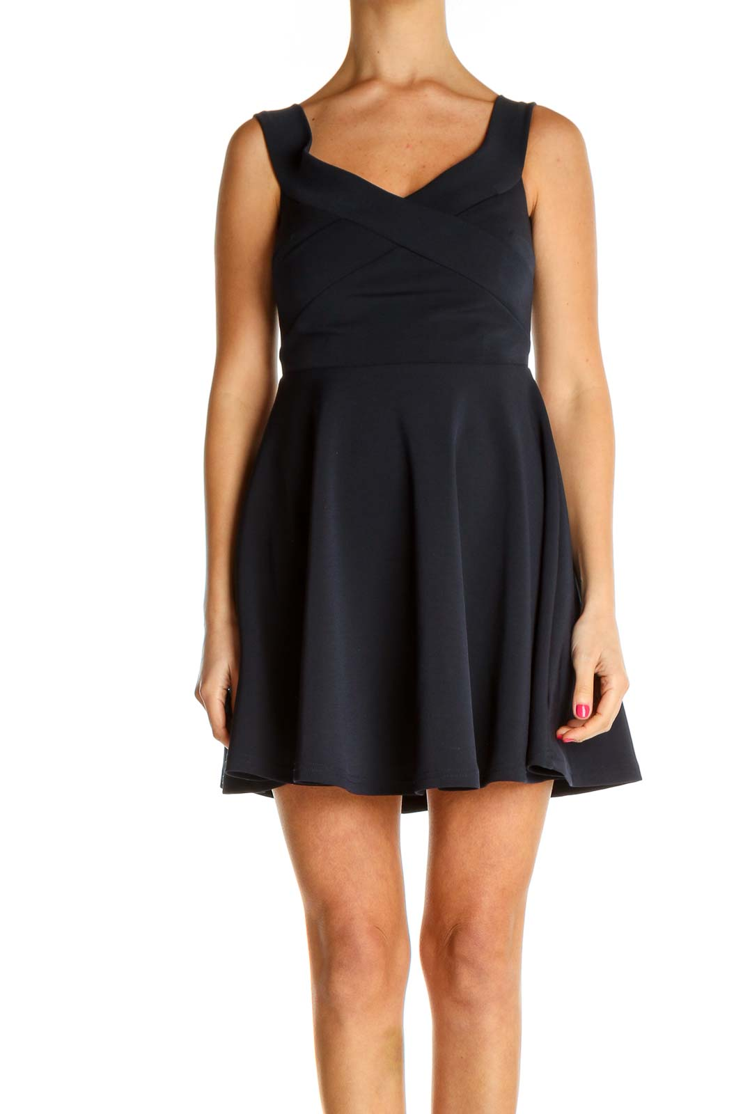 Black Solid Day Fit & Flare Dress Front