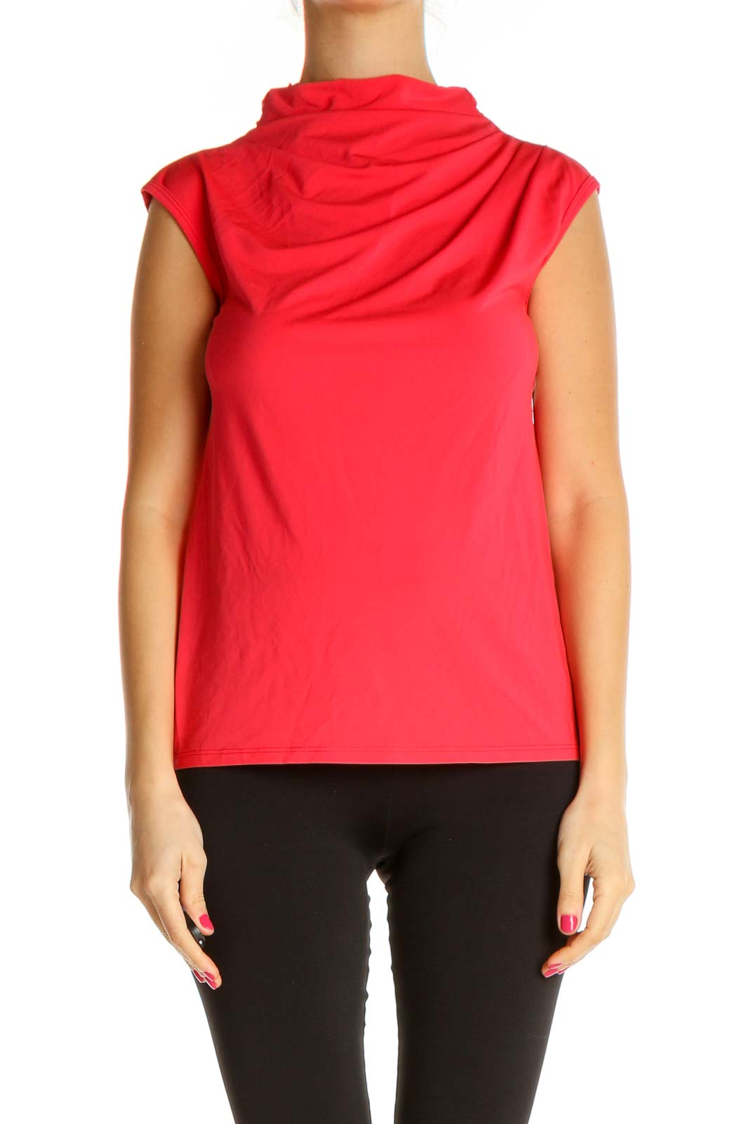 Red Solid Chic Blouse Front