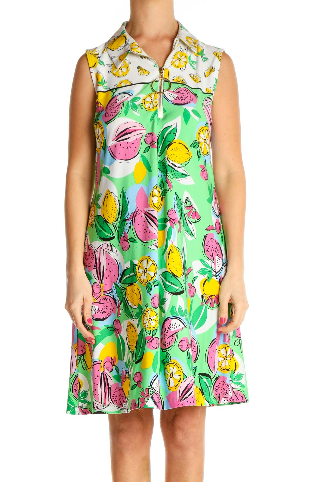 Green Floral Print Holiday Fit & Flare Dress Front