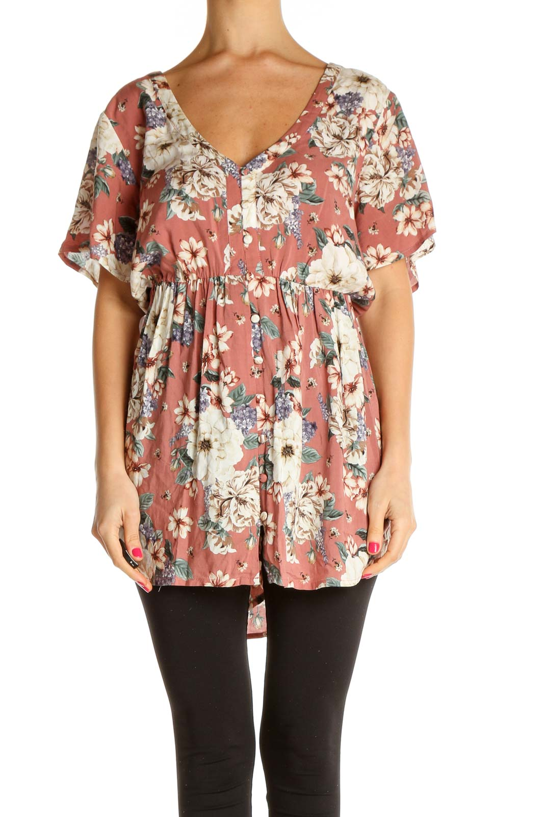 Pink Floral Print All Day Wear Blouse Front