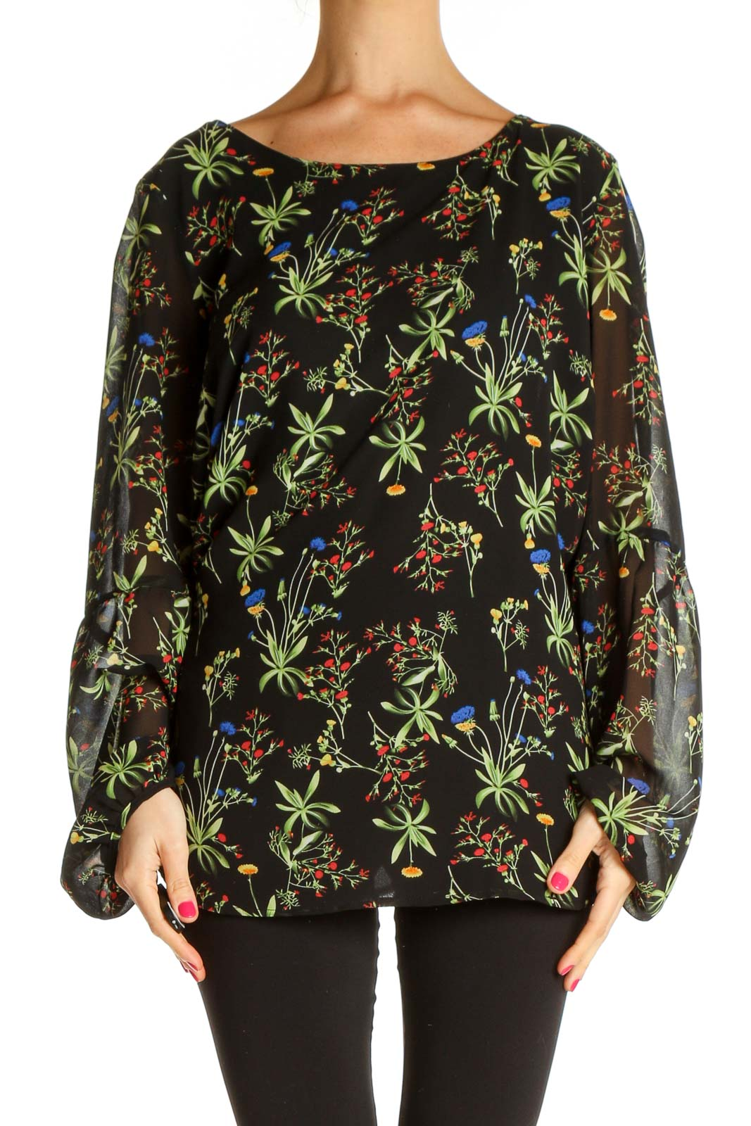 Black Floral Print All Day Wear Blouse Front