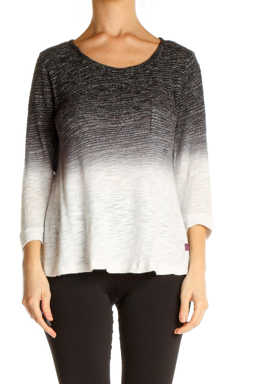 Black Textured All Day Wear Sweater Front