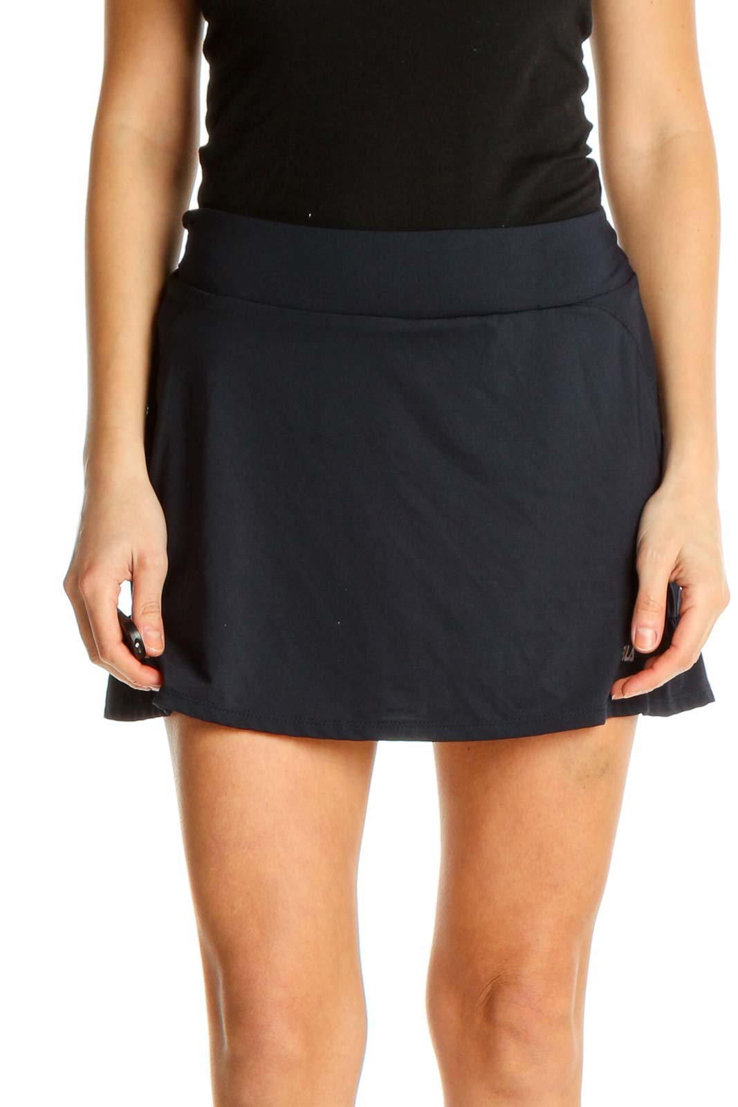 Blue Solid Activewear A-Line Skirt Front