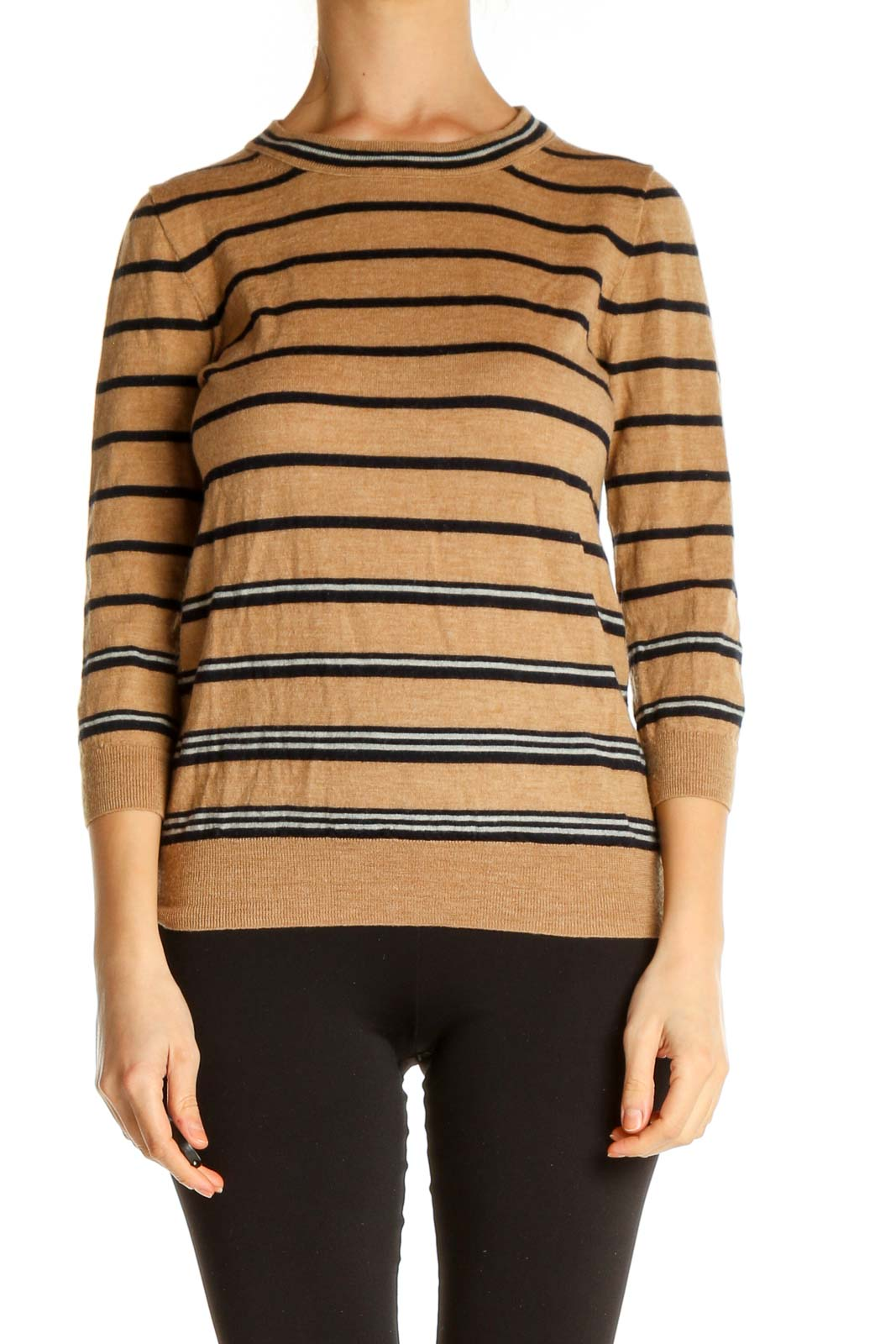 Brown Striped All Day Wear Sweater Front